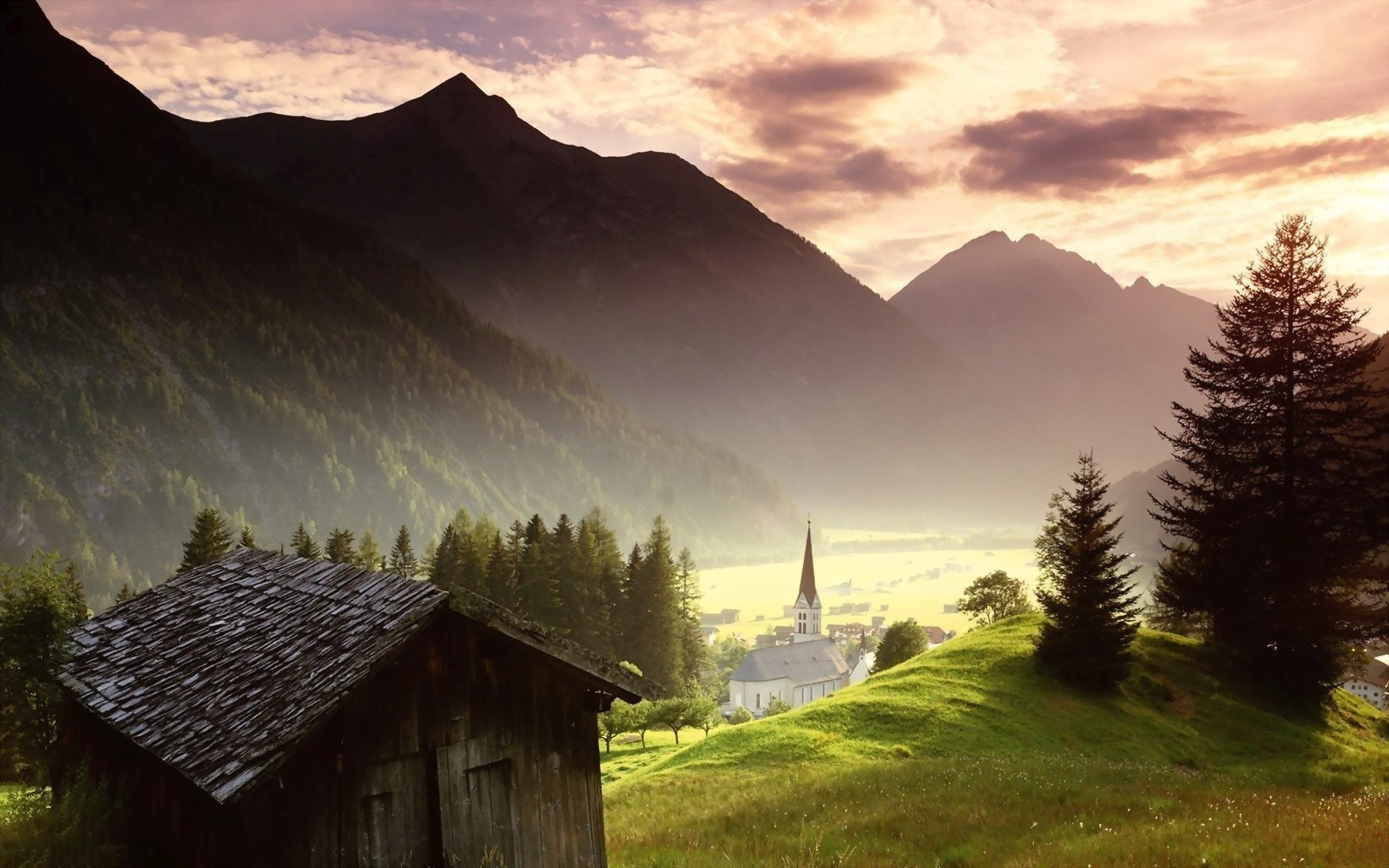 Res: 1920x1200, Nature, Sky, Cloud, Tree, Mountain, Summer, Church, Cottage, Wallpaper, ,  Hd Wallpapers, Amazing Photos, Widescreen Wallpapers, 1920×1200 Wallpaper HD