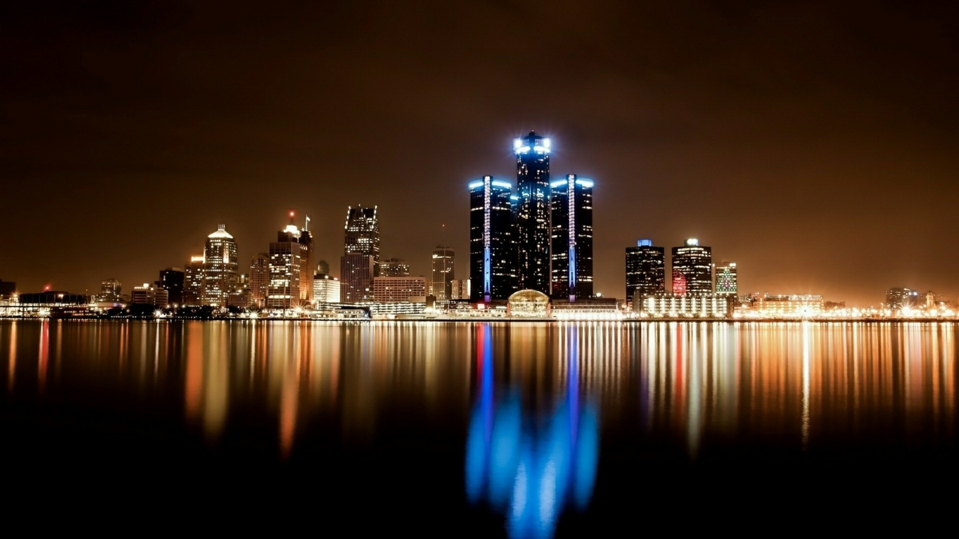 Res: 1920x1080, Detroit Cityscape At Night Wallpaper | Wallpaper Studio 10 | Tens of  thousands HD and UltraHD wallpapers for Android, Windows and Xbox