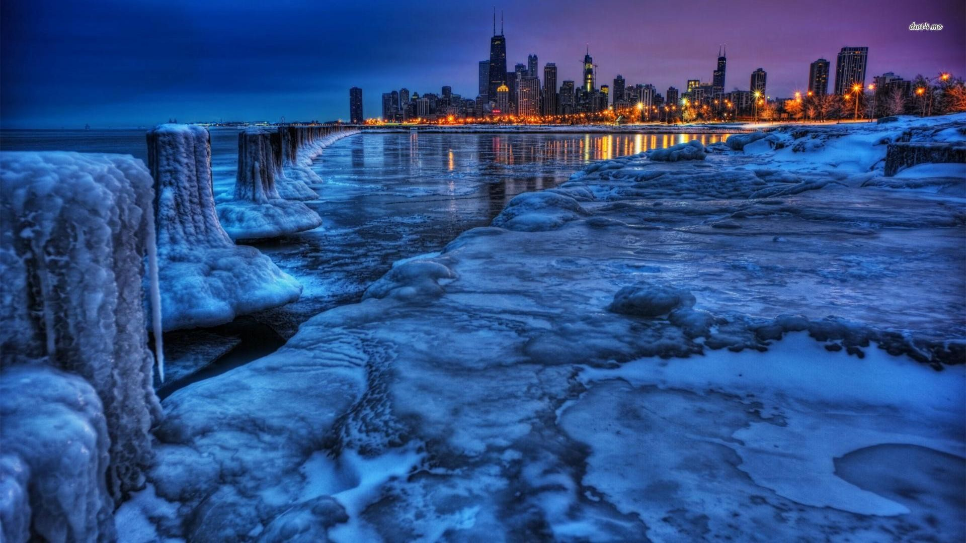 Res: 1920x1080, Chicago Winter Wallpaper