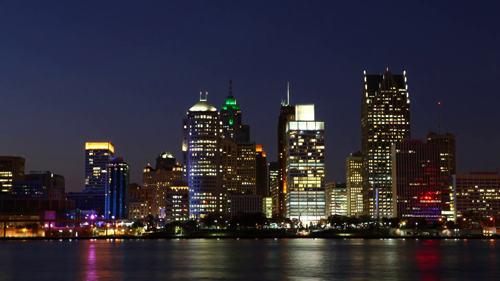 Res: 1920x1080, A Timelapse of the Detroit skyline at night across river Stock Video  Footage - Videoblocks