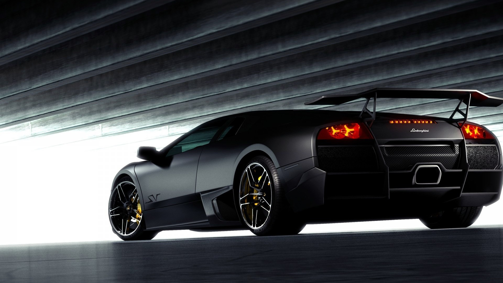Res: 1920x1080, black-lamborghini-back-view-hd-wallpapers-1080p-cars
