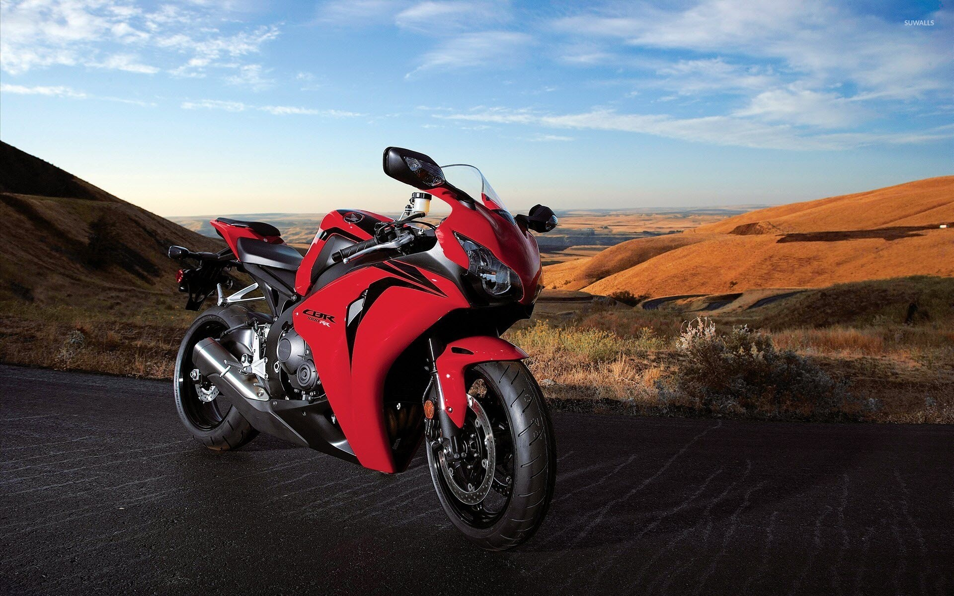 Res: 1920x1200, Red Honda CBR1000RR on a hill wallpaper