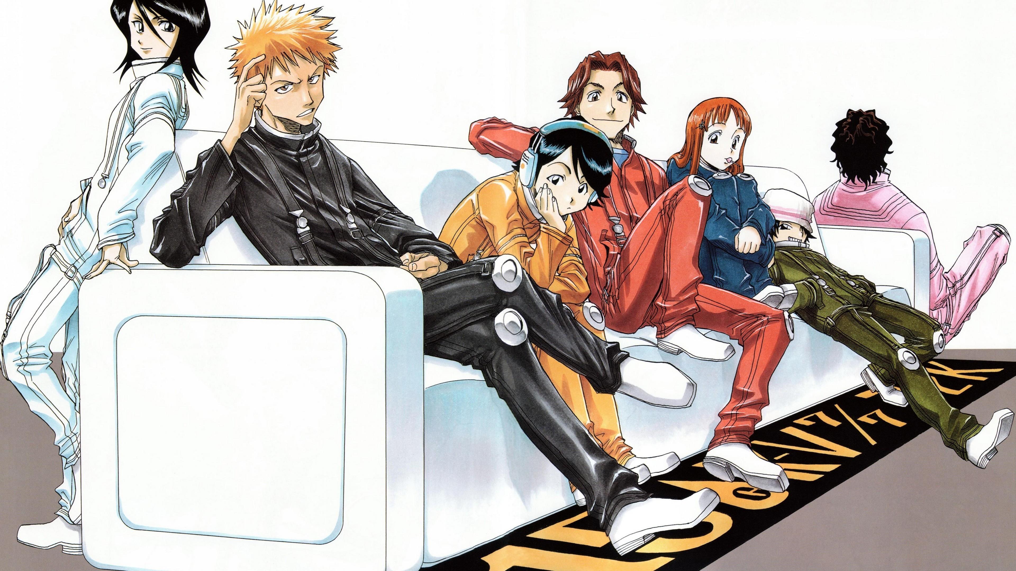 Res: 3840x2160, Bleach Ichigo Kurosaki Rukia Kuchiki Orihime Inoue Yasutora Sado Wallpaper