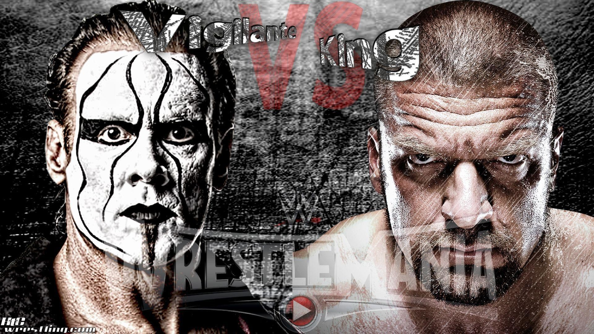 "Res: 1920x1080, WrestleMania Wallpaper: ""Vigilante vs King"" – Sting vs HHH at ."