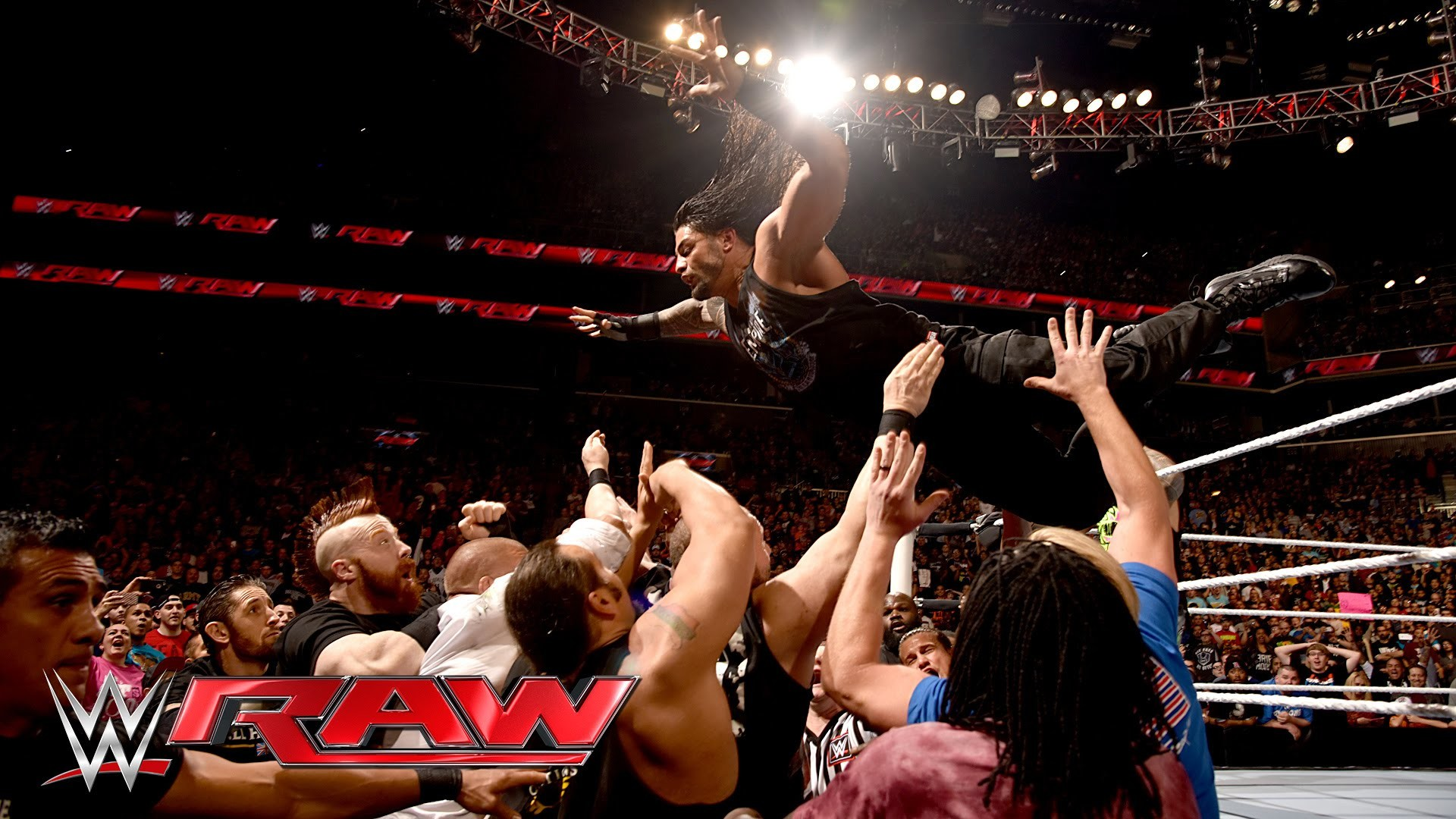 Res: 1920x1080, Roman Reigns sparks a chaotic brawl with Triple H: Raw, March 28, 2016 -  YouTube
