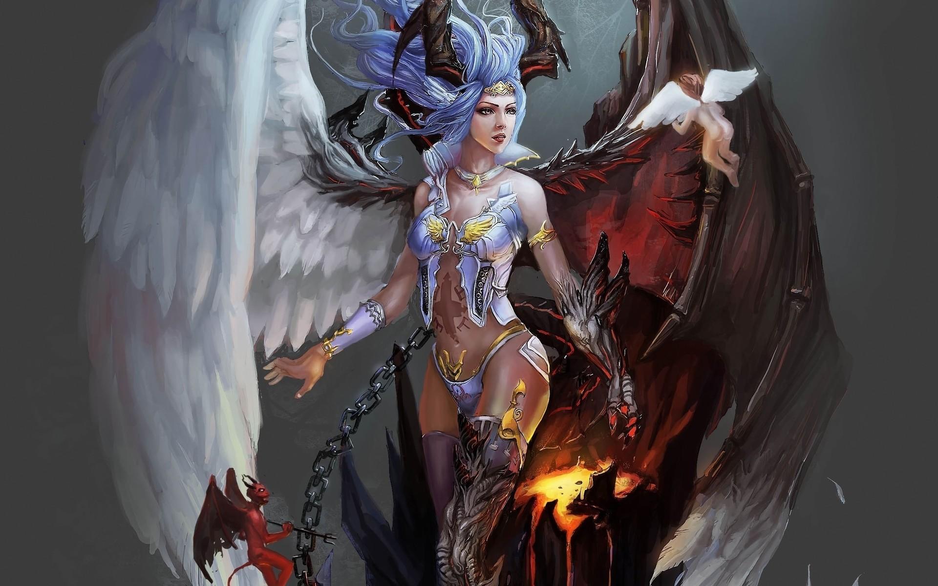 Res: 1920x1200, Fantasy demon angel wings chains fire magic good evil god goddess art  wallpaper |  | 27380 | WallpaperUP
