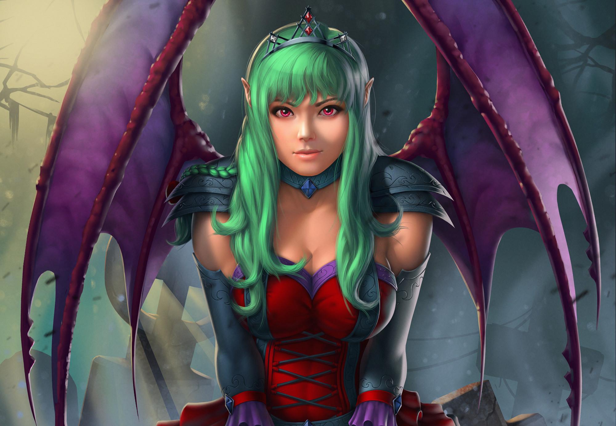 Res: 2000x1384, Fantasy Demon Girl