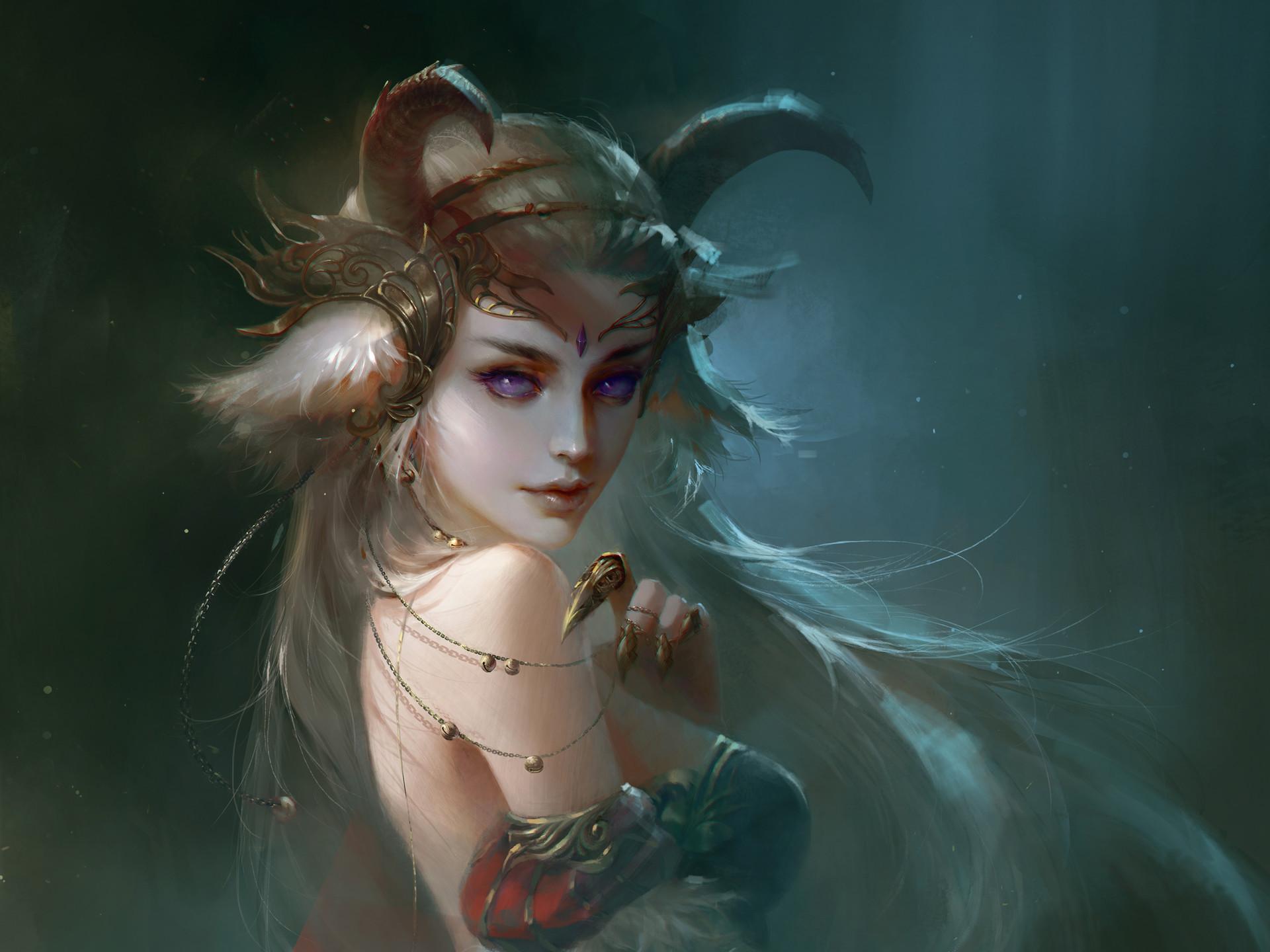 Res: 1920x1440, Fantasy - Demon Woman Girl Horns White Hair Wallpaper