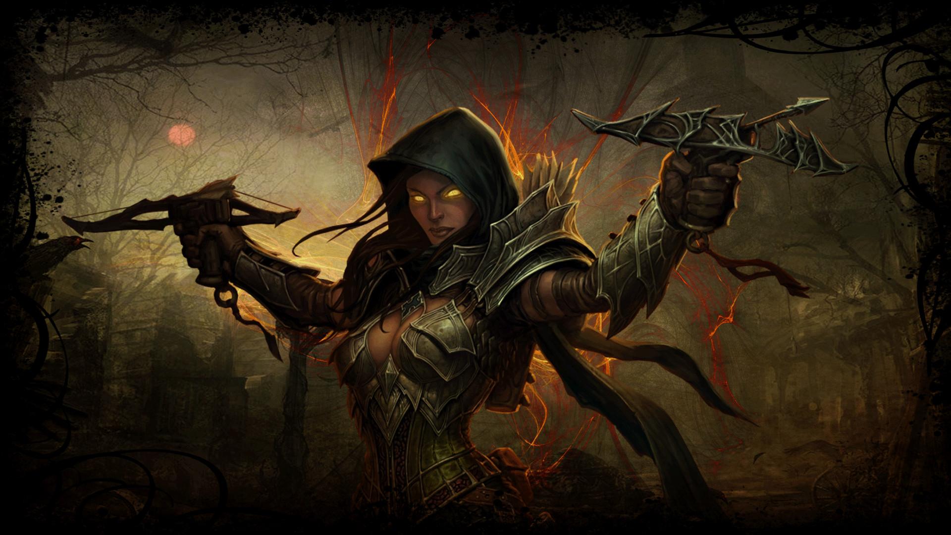 Res: 1920x1080, ... cursedblade1337 Diablo 3 Demon Hunter (background) by cursedblade1337