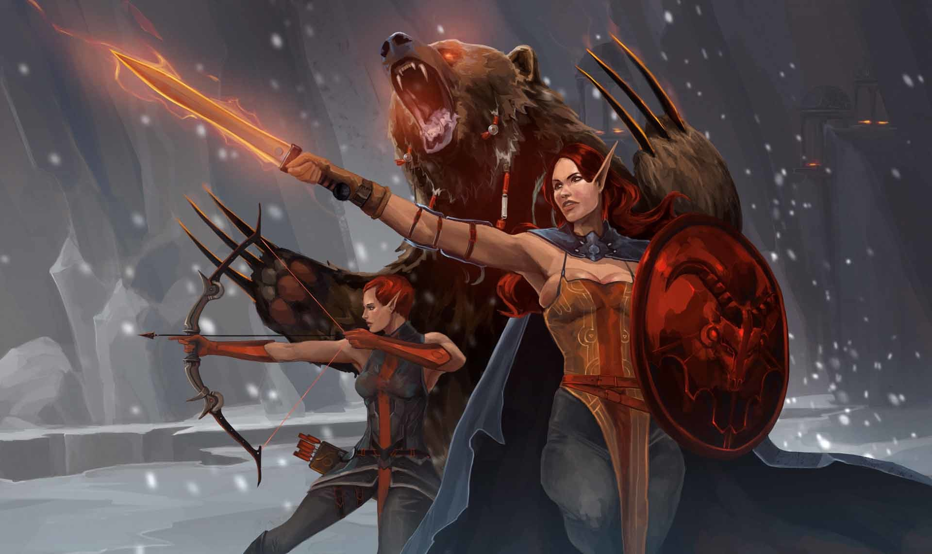 Res: 1920x1141, Fantasy Women Bear Sword Wallpaper