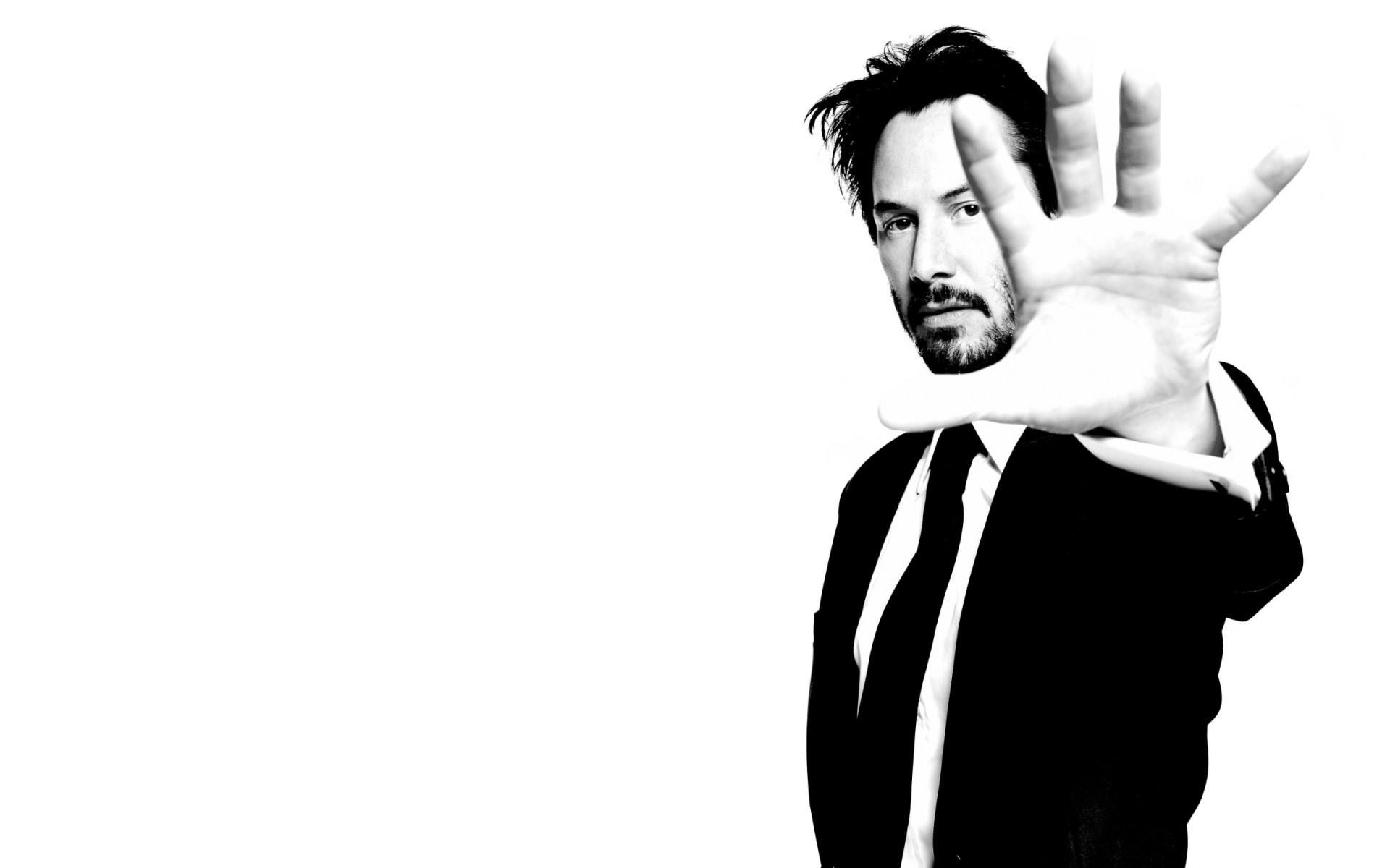 Res: 1920x1200, Wallpaper Keanu reeves, Man, Actor, Black white, Hand, White, Jacket HD,  Picture, Image