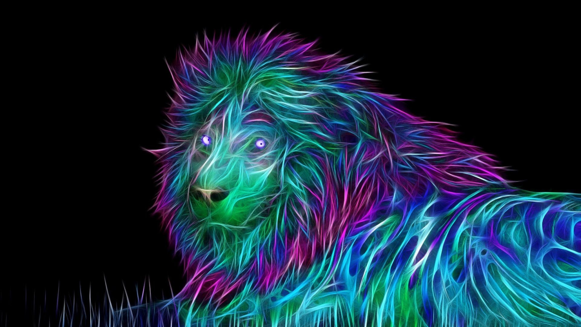 Res: 1920x1080, abstract 3d art lion 1080p