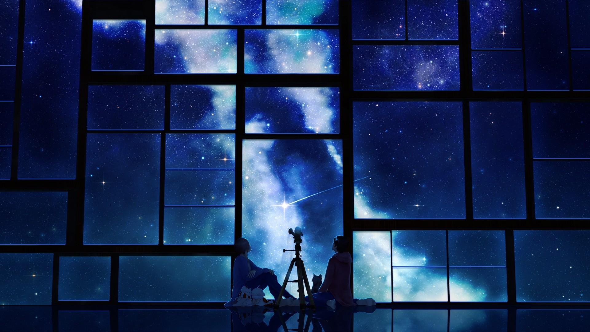 Res: 1920x1080,  Wallpaper tamagosho, sky, stars, telescope, night, window