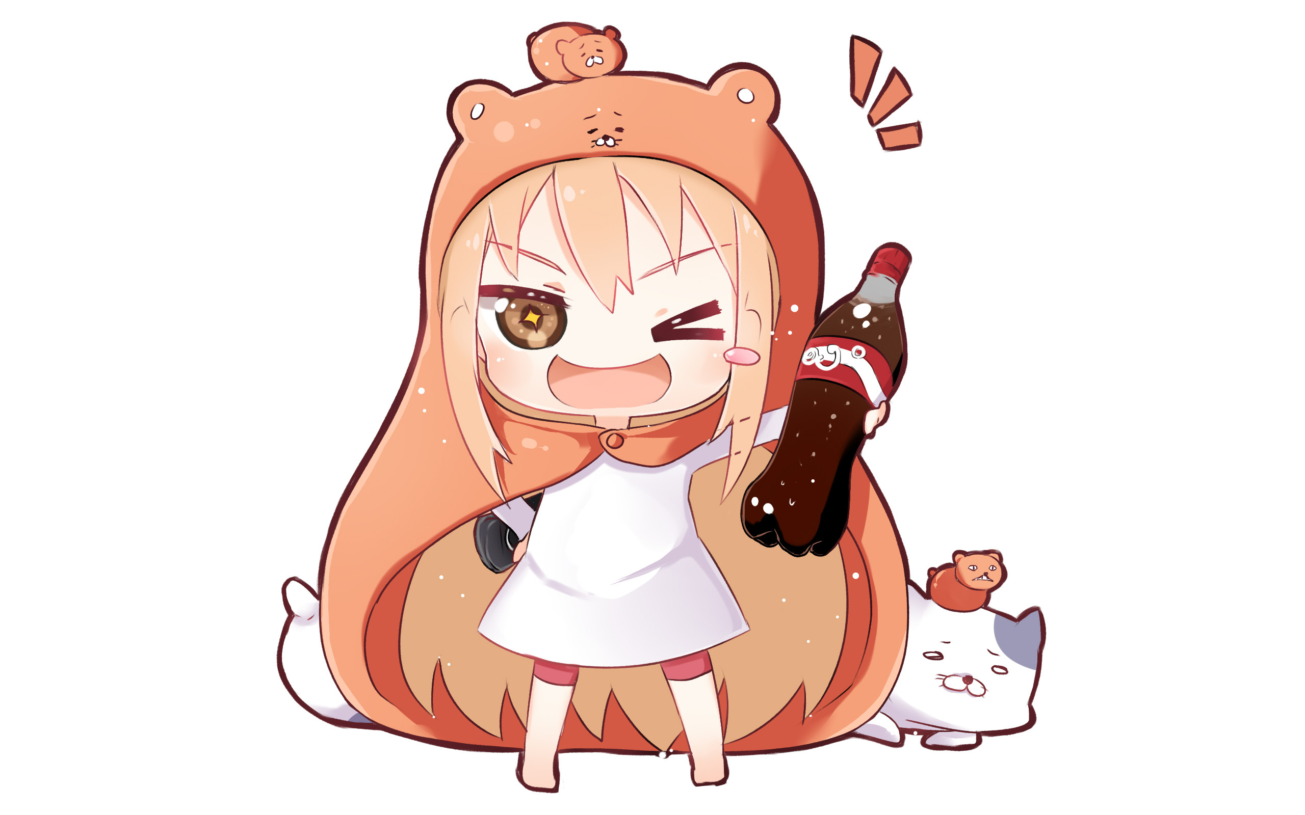 Res: 2560x1600, Umaru-chan Anime Cat Hamster Blonde Wink Chibi Long Hair Brown