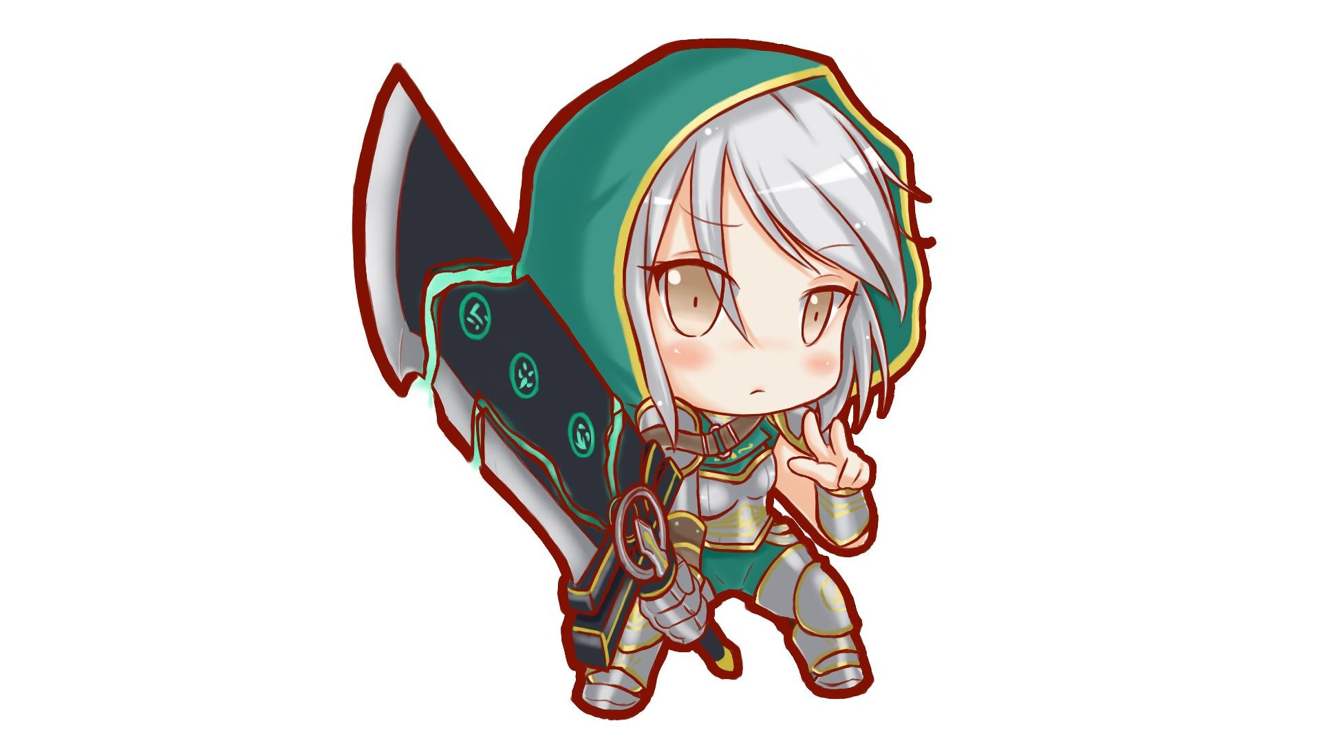 Res: 1920x1080, Chibi Redeemed Riven by みかみ HD Wallpaper Fan Art Artwork League of Legends  lol
