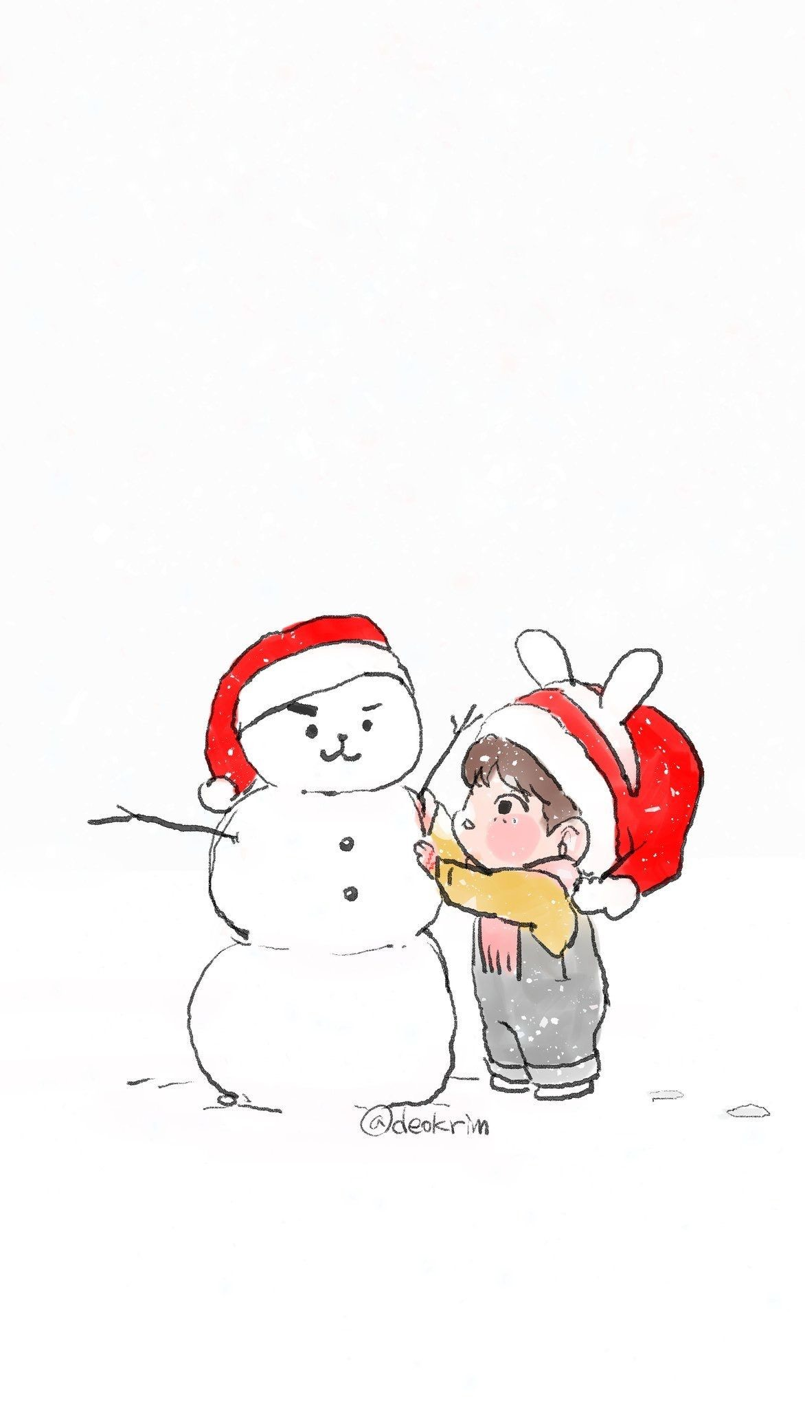 Res: 1172x2048, Bts Chibi, Wallpapers, Bts Wallpaper, Fanart, Merry Christmas, Kawaii,  Asia, Twitter, Kpop