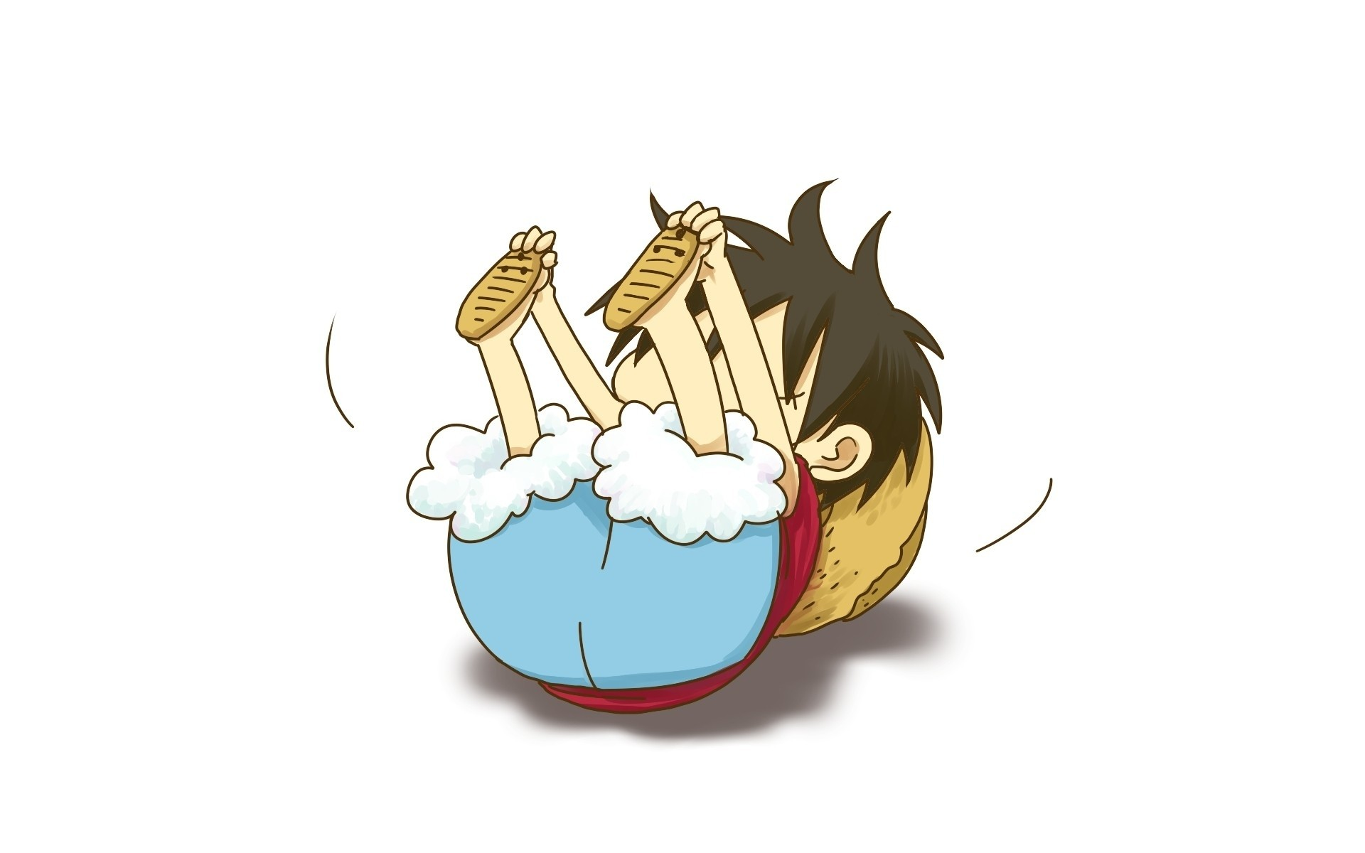 Res: 1920x1200, One piece anime chibi simple background white background monkey d luffy  Wallpaper