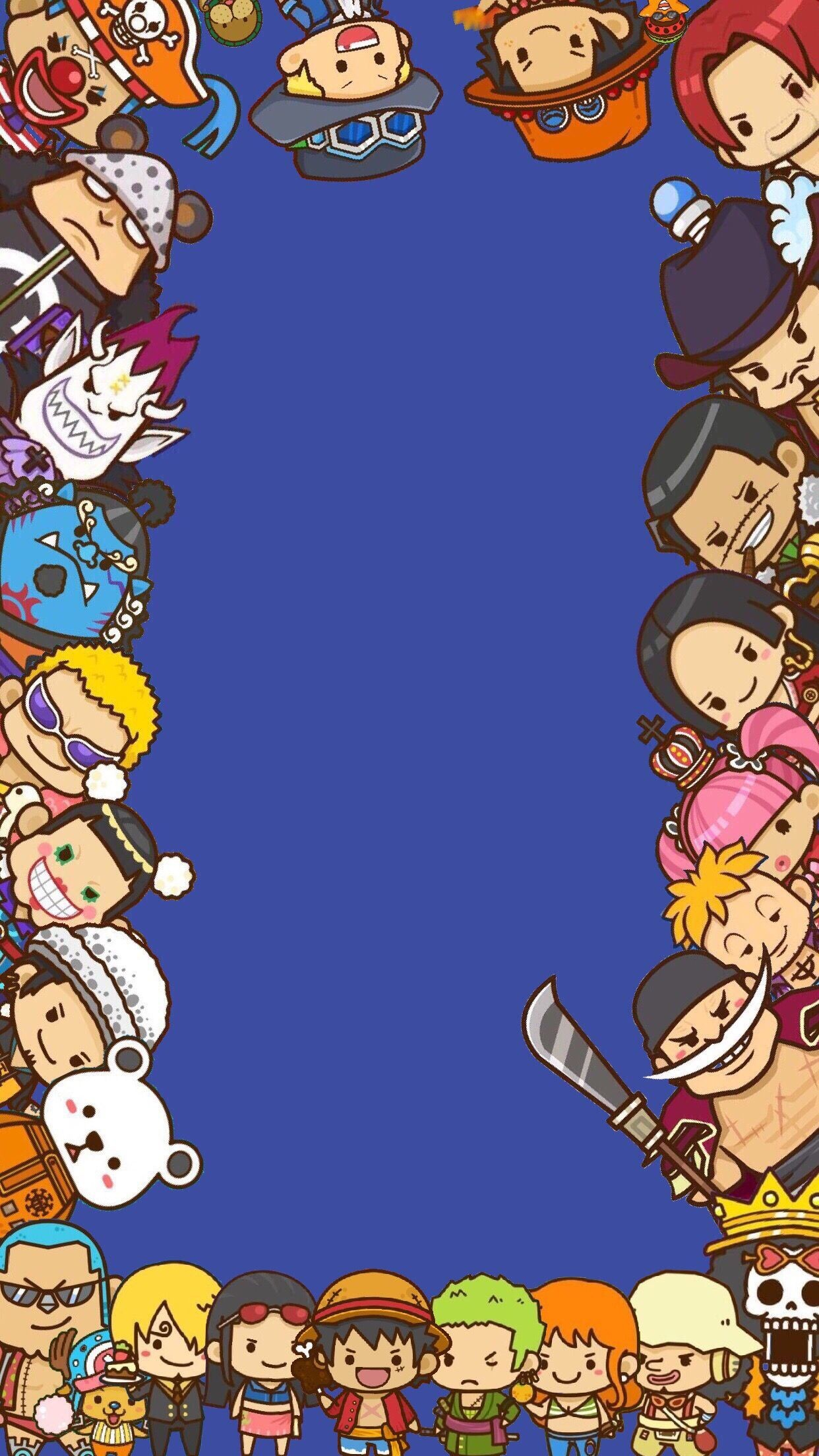 Res: 1242x2208, One piece wallpaper.. I edited it on photoshop but I couldn't find the  original artist to give credit for those awesome chibi drawings