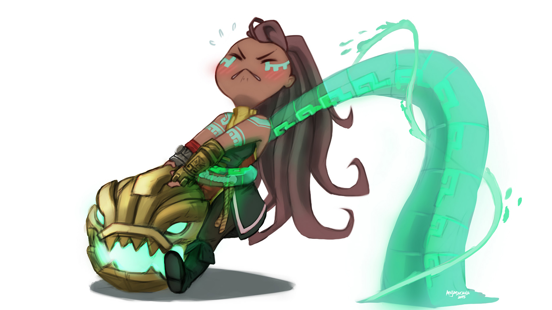 Res: 1920x1080, Chibi Illaoi by jeng3x HD Wallpaper Fan Art Artwork League of Legends lol