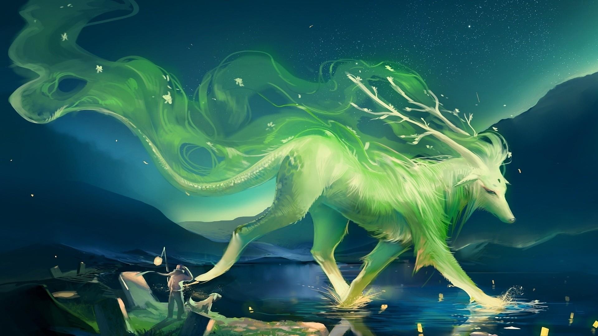 Res: 1920x1080, Green Deer Fantasy Wallpaper