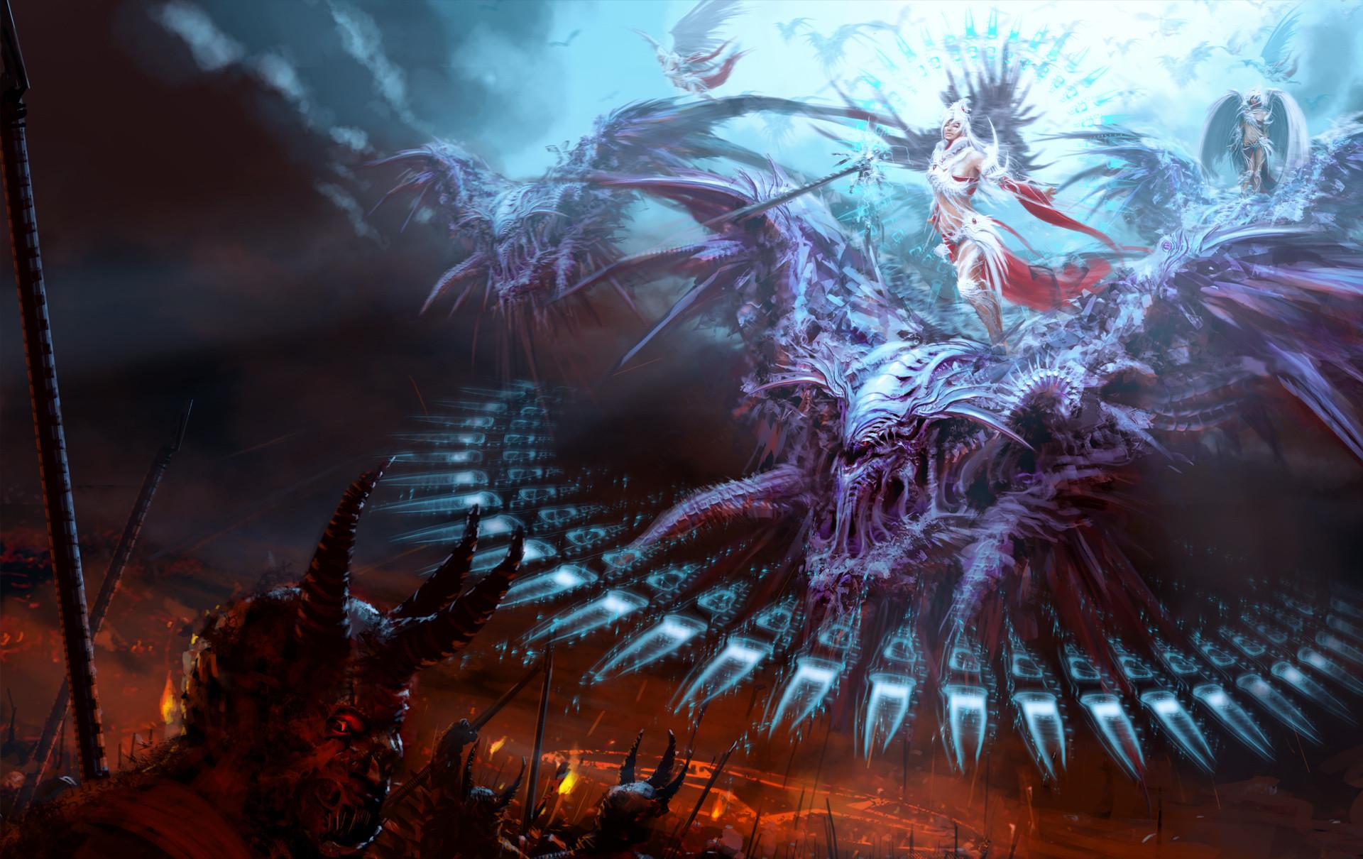 Res: 1920x1210, battle, angel, devil, fantasy