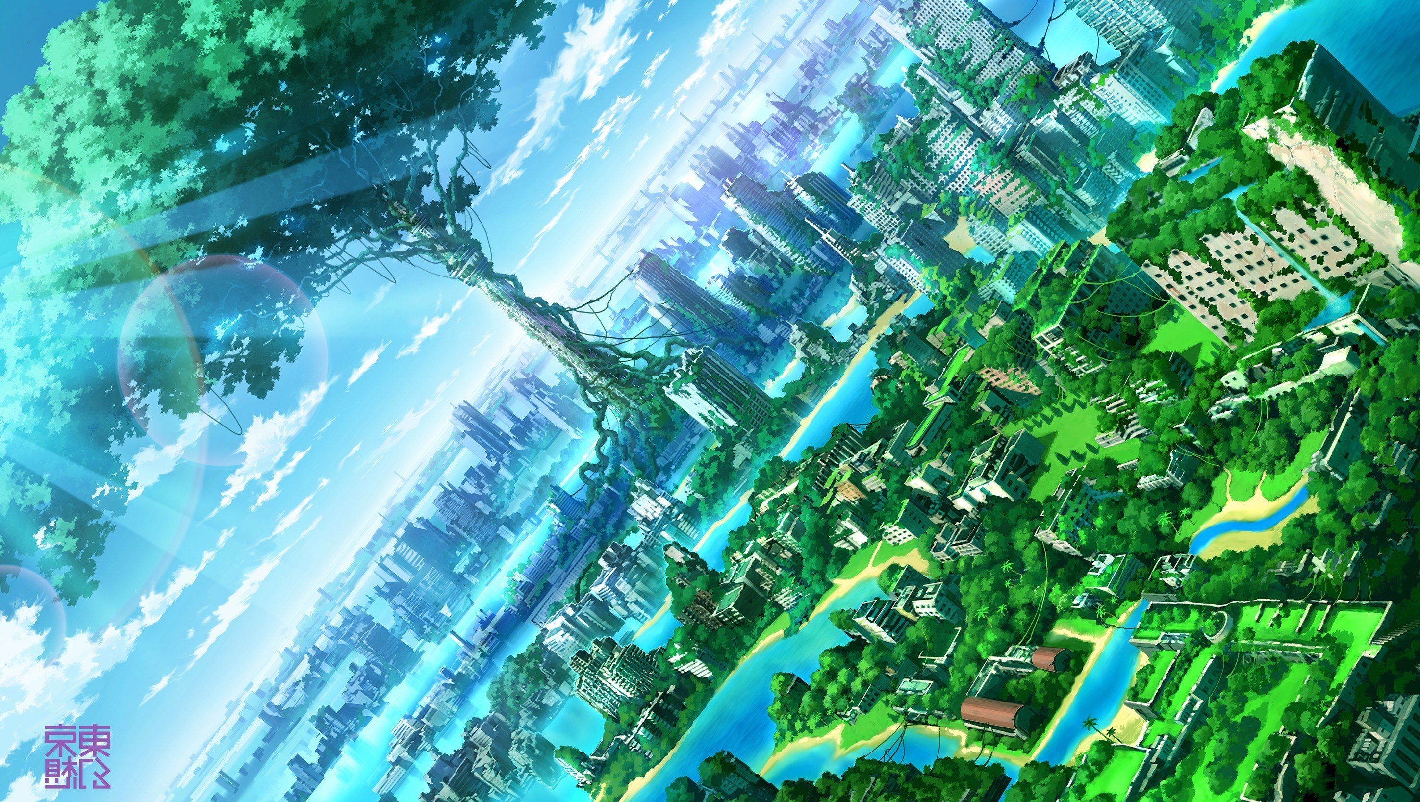 Res: 2896x1636, anime, Artwork, Fantasy Art, City, Nature Wallpapers HD / Desktop and  Mobile Backgrounds