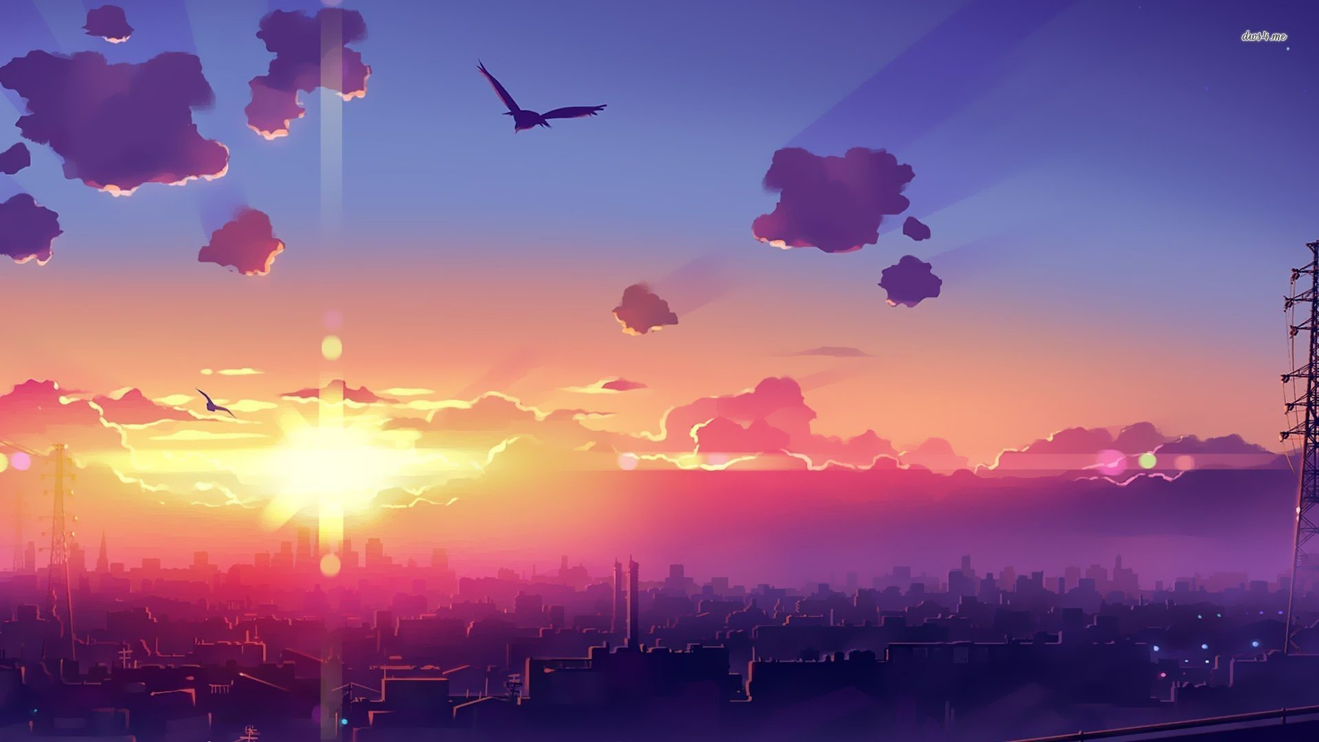 Res: 1920x1080, Amazing sunset above the city wallpaper - Anime wallpapers - #41068