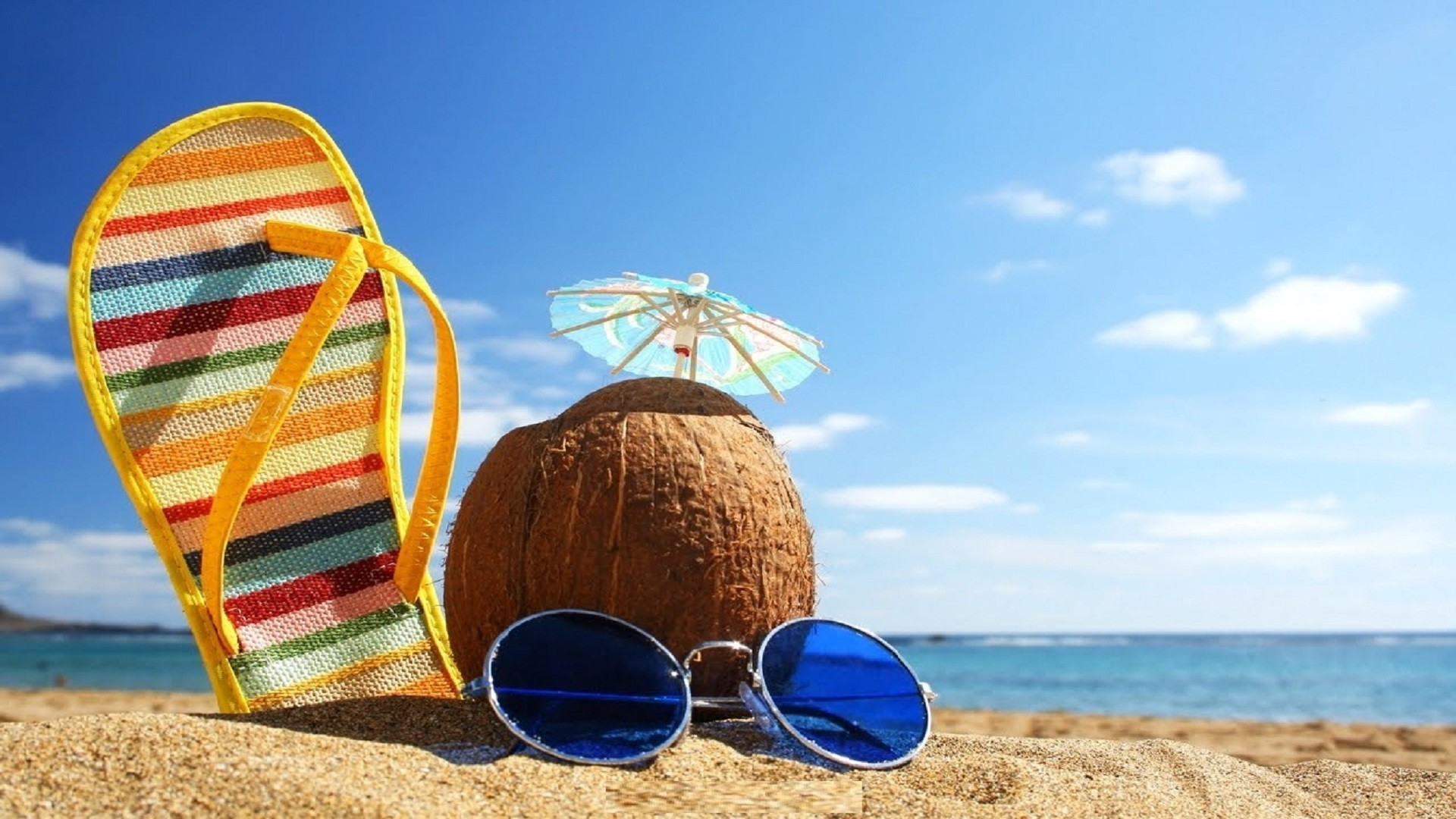 Res: 1920x1080, sea-glasses-shoes-summer-season-hd-wallpapers-free-