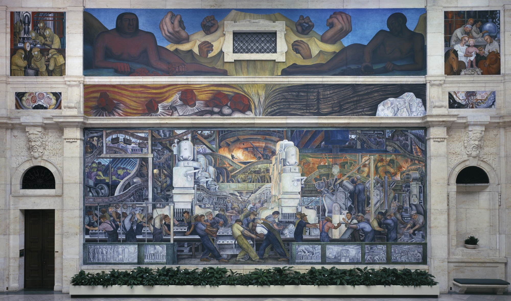 Res: 2000x1177, Diego M. Rivera, Detroit Industry, North Wall, 1932-1933, fresco