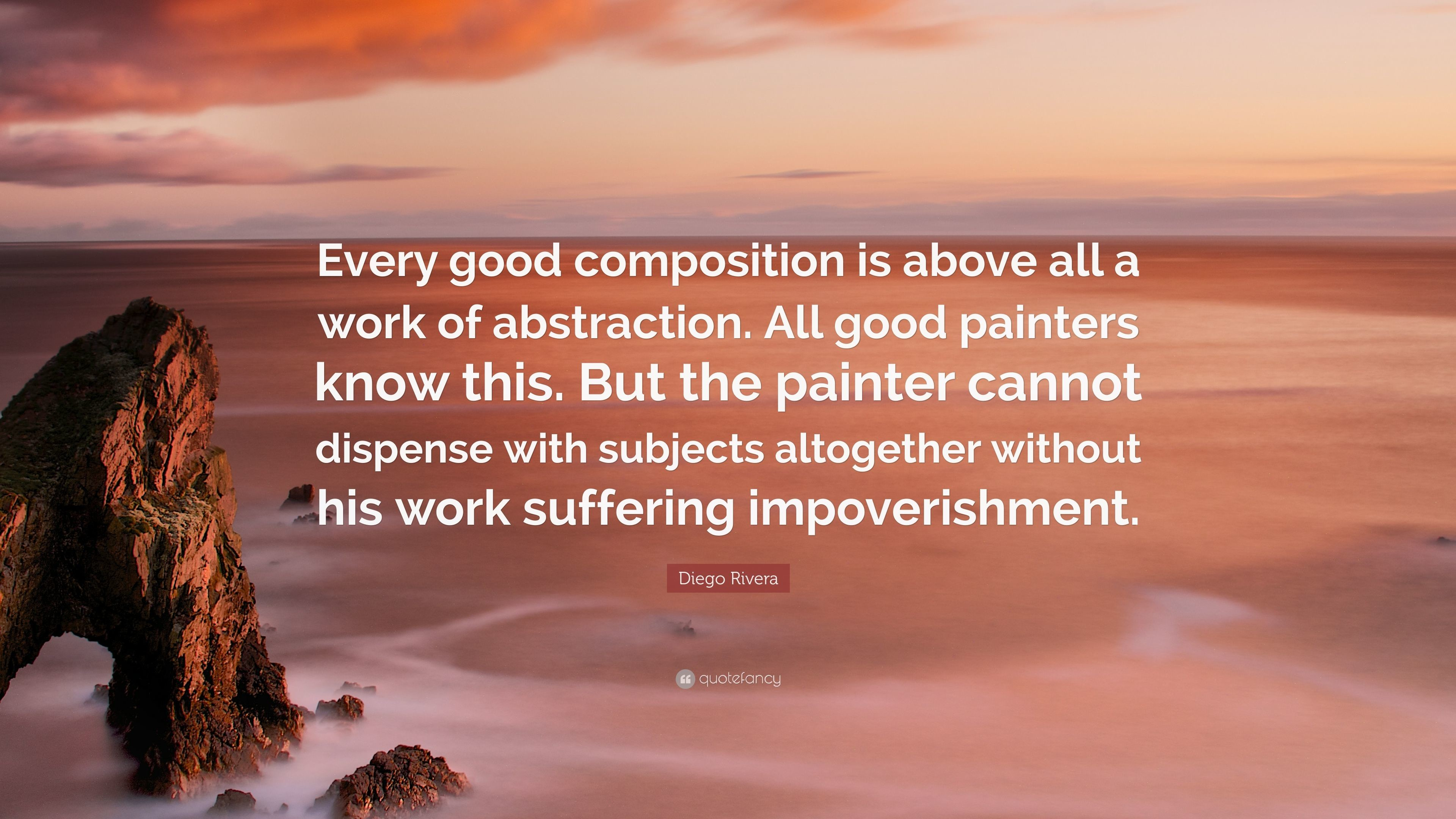 """Res: 3840x2160, Diego Rivera Quote: """"Every good composition is above all a work of  abstraction."""