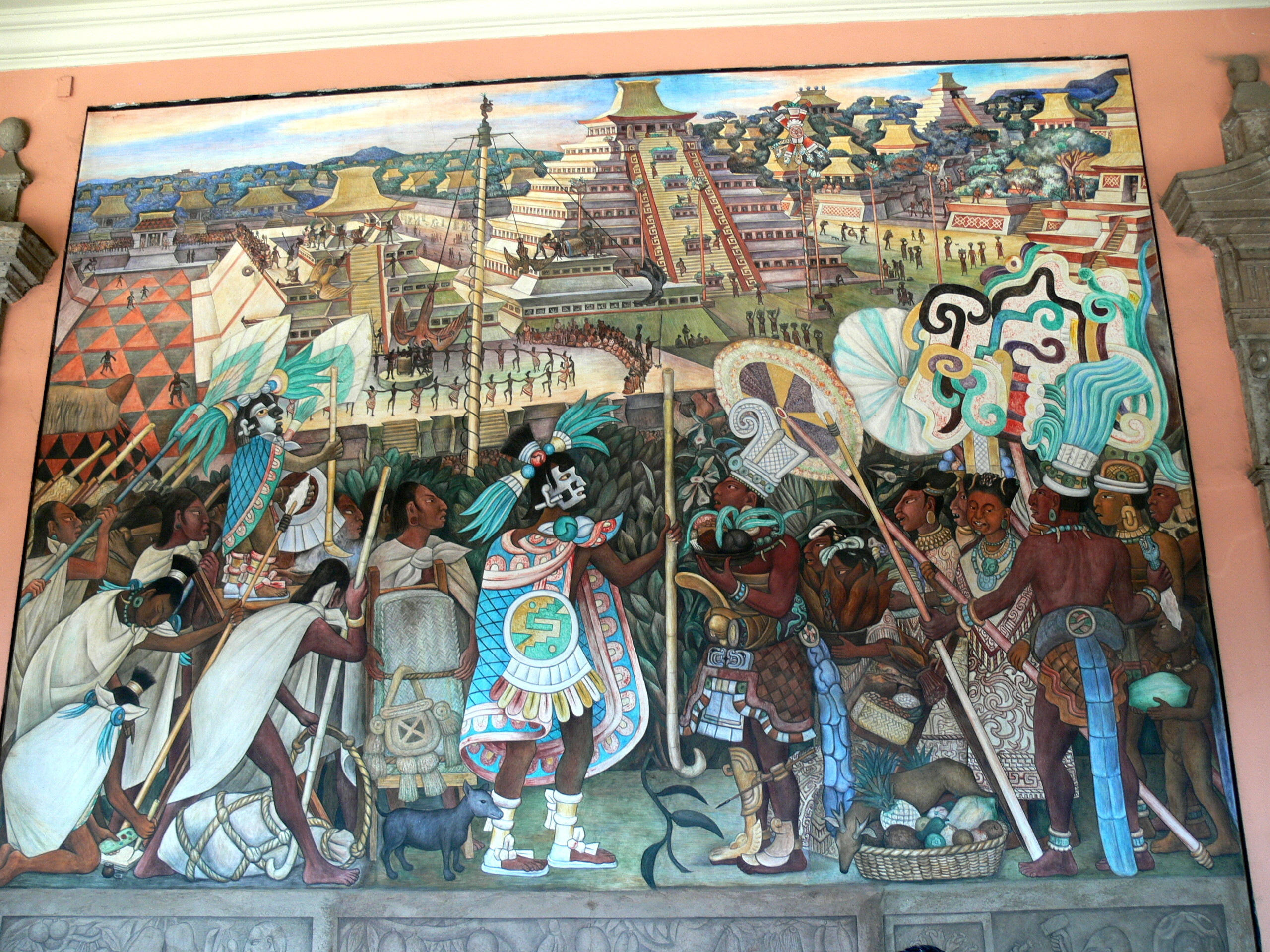 Res: 2560x1920, Datei:Murales Rivera - Indianer vor Tenochtitlan.jpg