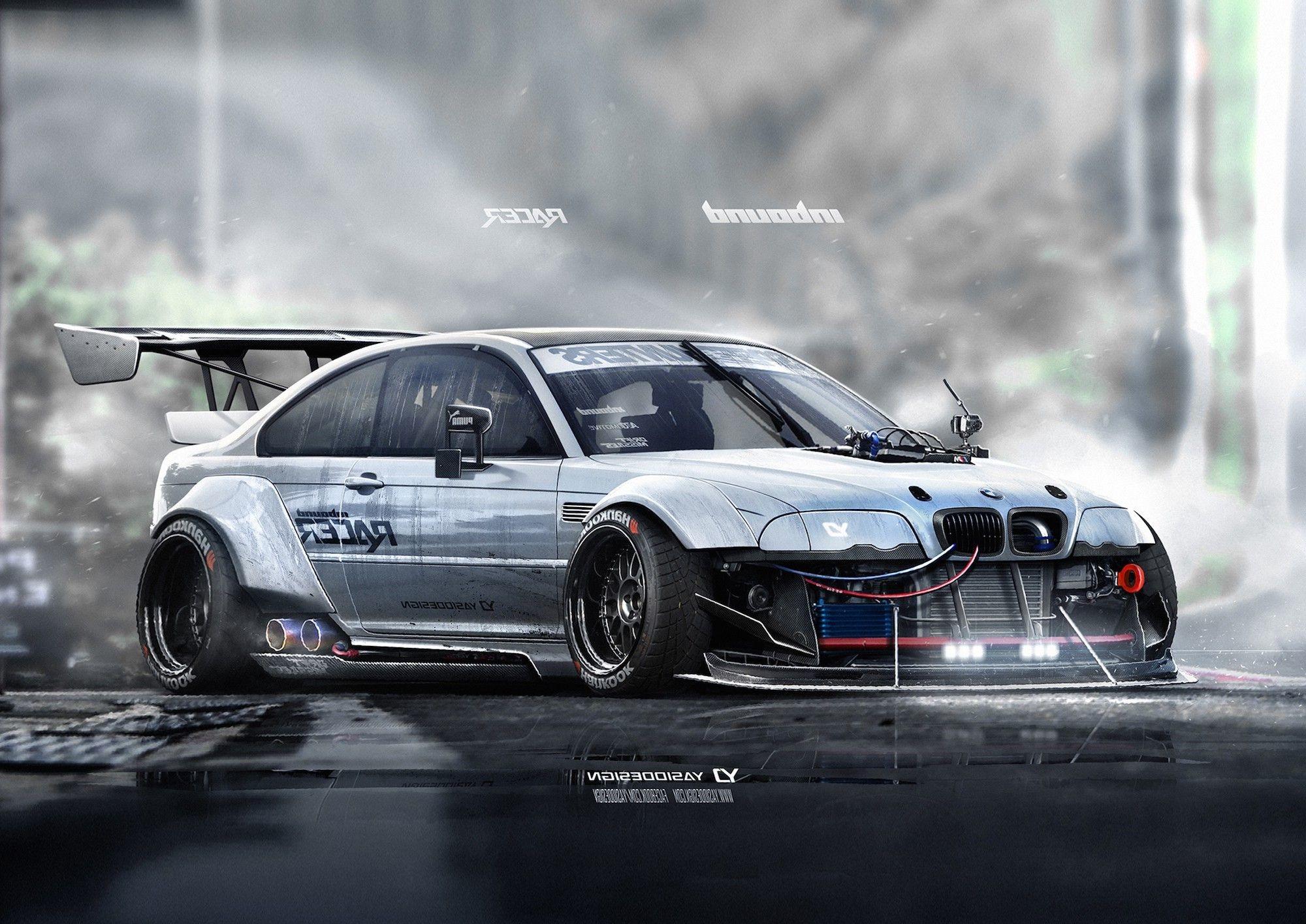 Res: 2000x1416, Car Yasiddesign Render Artwork Bmw M3 E46 Race Cars