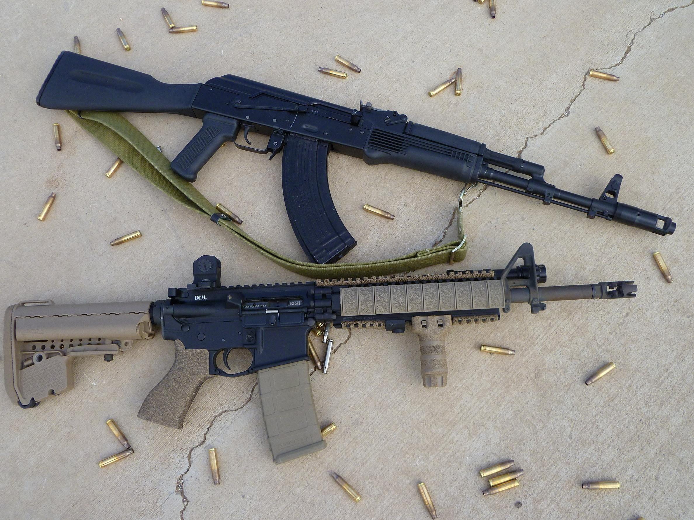 Res: 2376x1782, two black Kalashnikov riffle and M4A1 rifle HD wallpaper