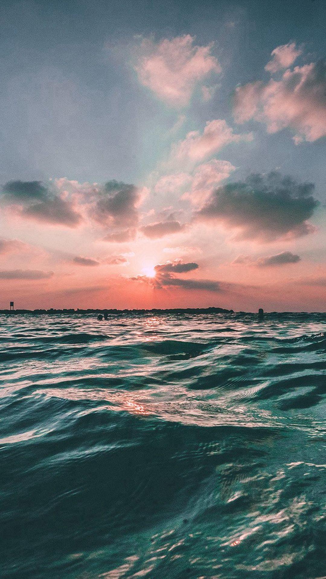 Res: 1080x1920, Sunset Sea Sky Ocean Summer Green Water Nature #iPhone #6 #plus #wallpaper