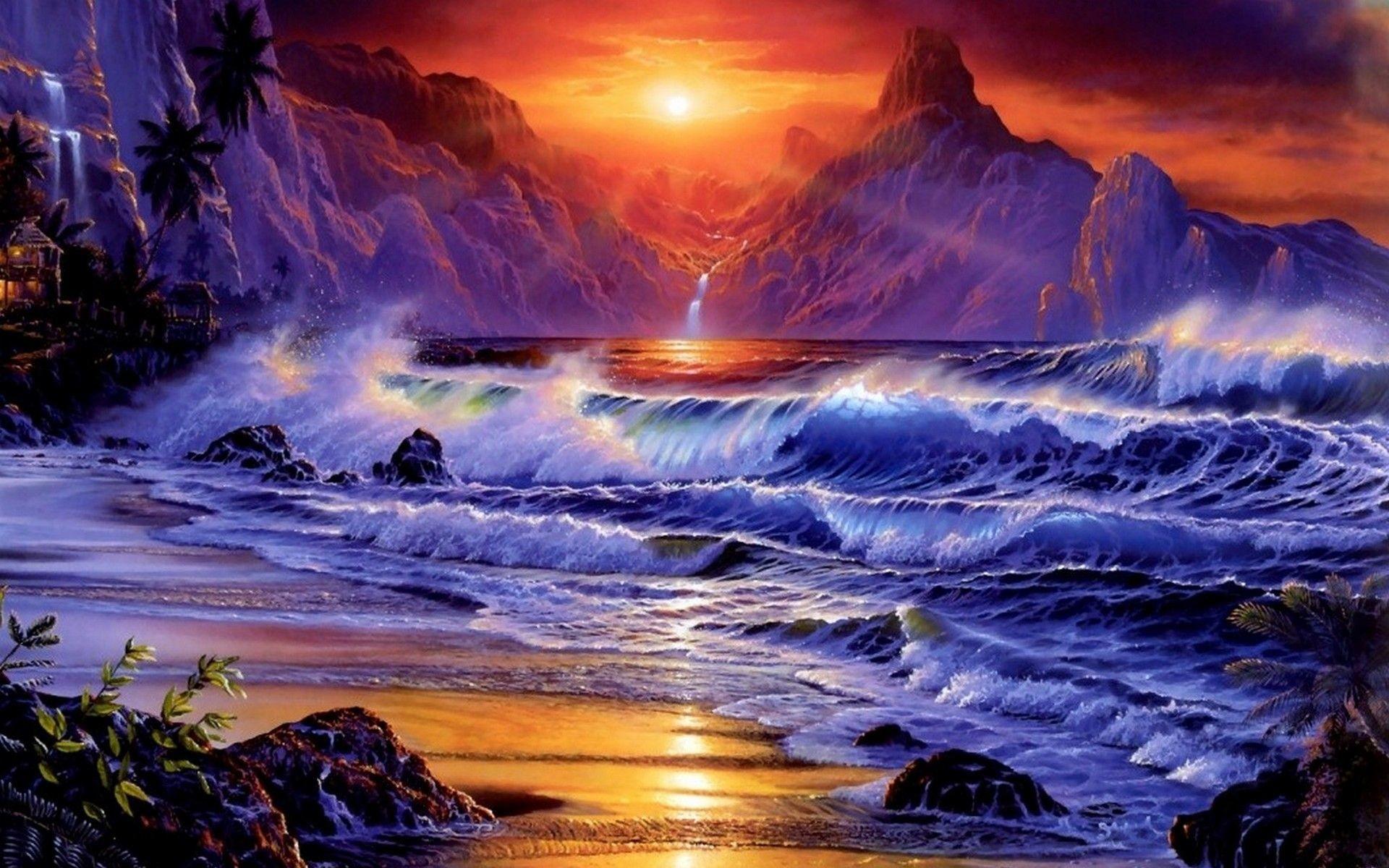 Res: 1920x1200, Sunset ocean waves fantasy art artwork wallpaper    .