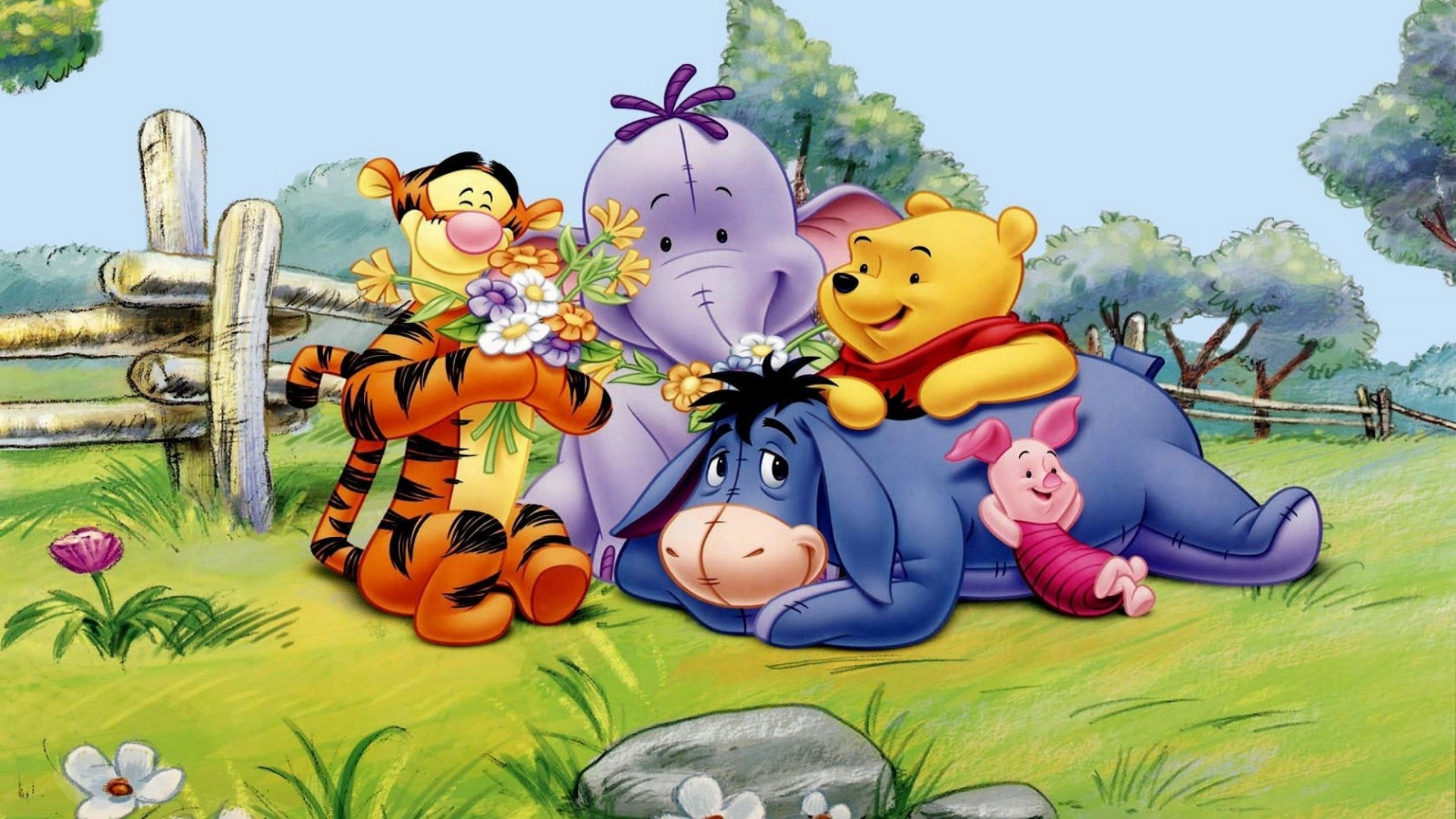 Res: 1920x1080, Winnie The Pooh Tigger Eeyore Piglet And Elephant Spring HD Wallpaper