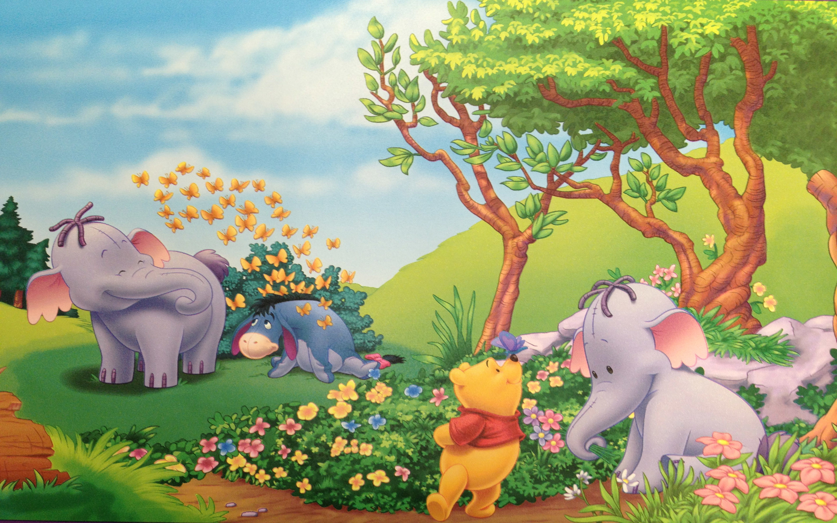 Res: 2880x1800, Cartoon Wallpaper Hd Of Winnie The Pooh Images Photos Eeyore And Elephant  Heffalump Summer Flowers Androids