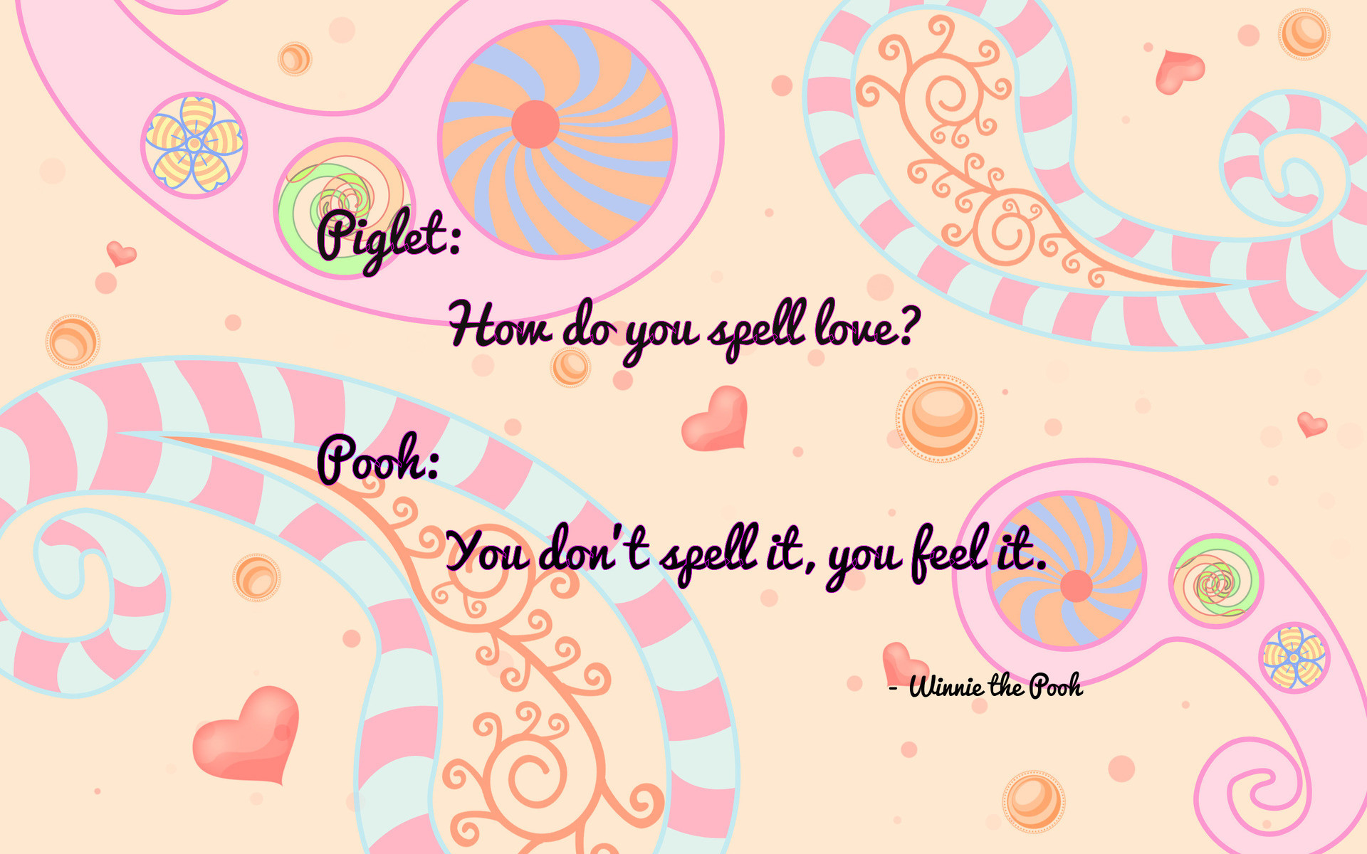Res: 1920x1200, Winnie The Pooh Love Quote Wallpaper