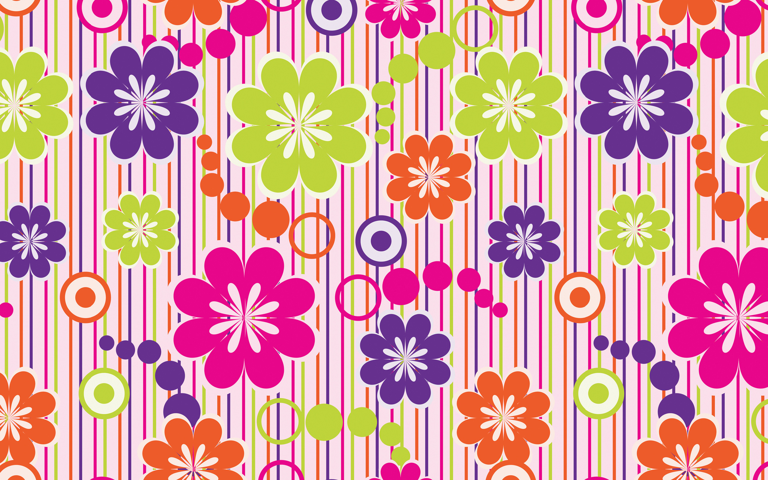 Res: 2560x1600, Abstract colorful flowers wallpaper picture.
