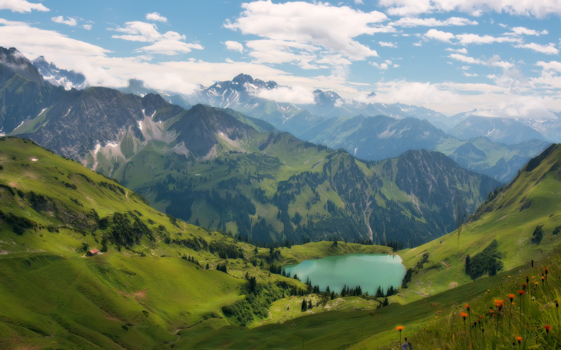 Res: 1920x1200, Lake in the Alps Wallpaper Landscape Nature Wallpapers