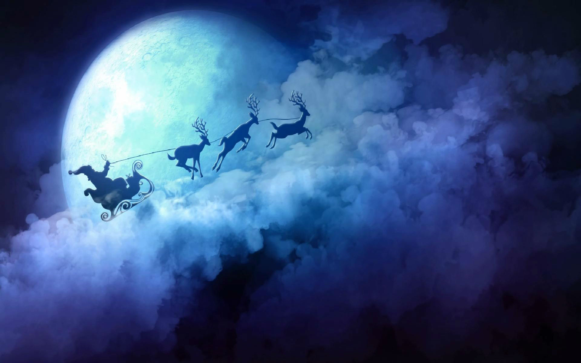Res: 1920x1200, Santa Claus Reindeer Sleigh over the Moon and Clouds Desktop Wallpaper