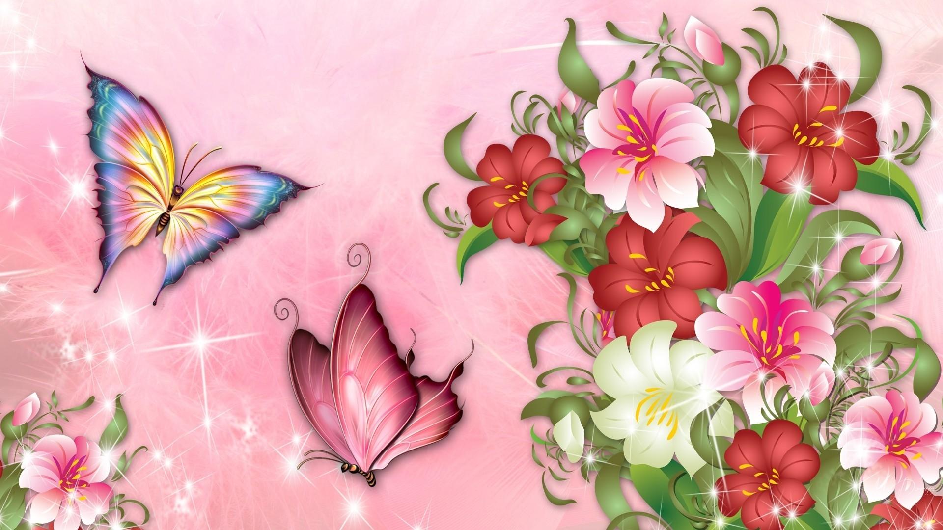 Res: 1920x1080, Blossoms Perona Theme Spring Firefox Blooms Garden Pink Bright Summer  Flowers Butterflies Flower Wallpaper Full Hd