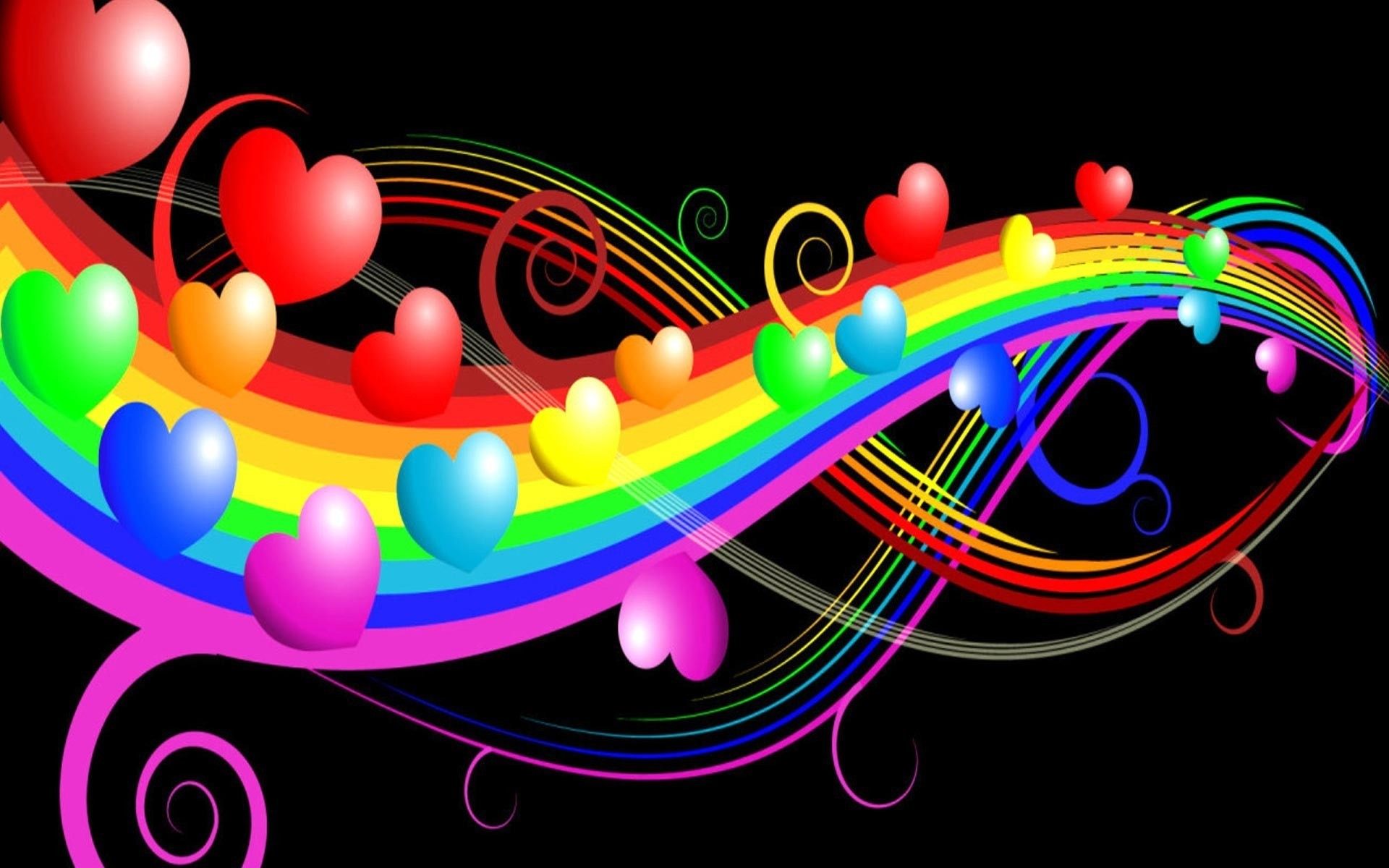 Res: 1920x1200, Hearts Stars Rainbow