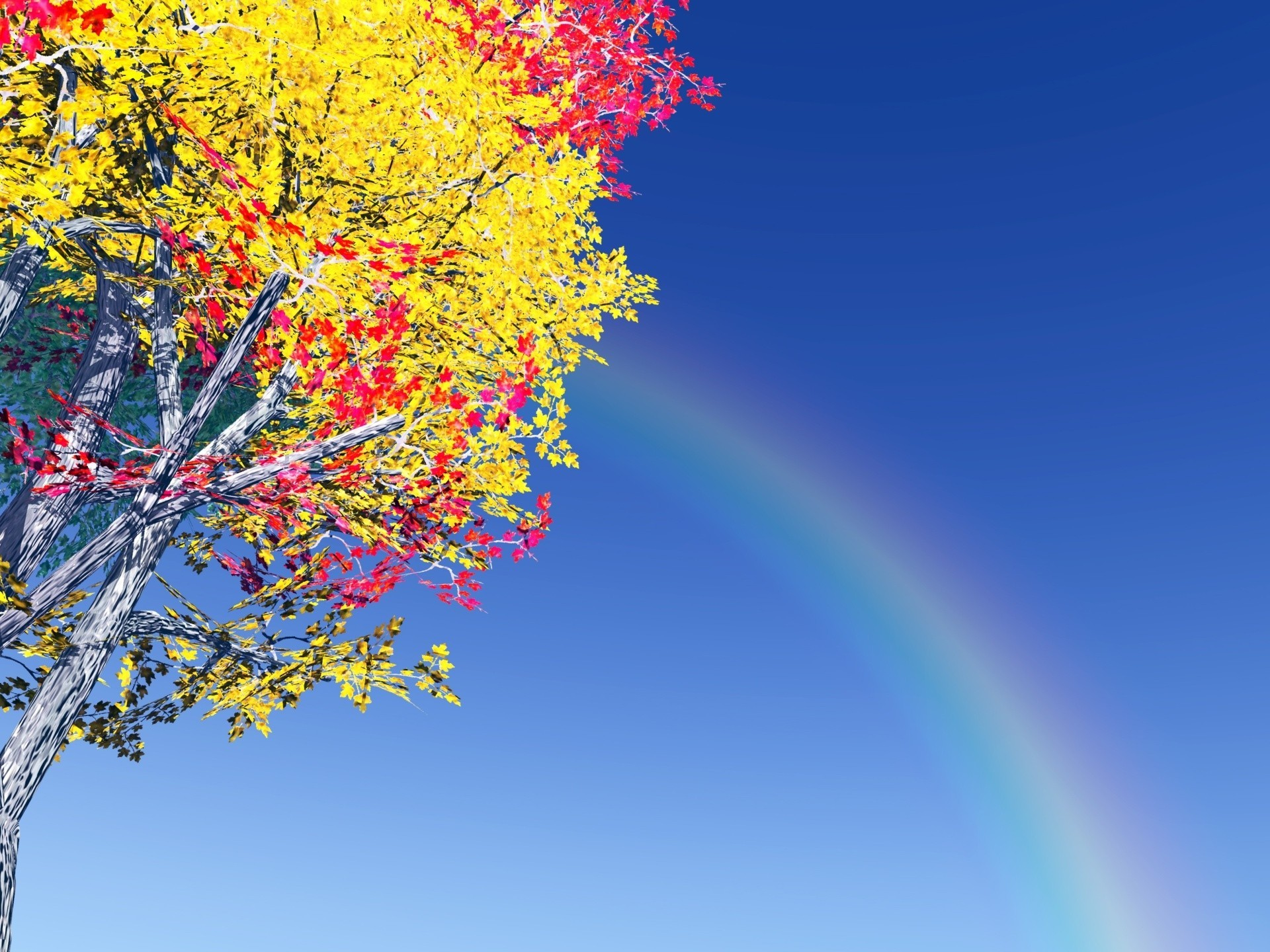 Res: 1920x1440, Colorful tree and rainbow wallpaper