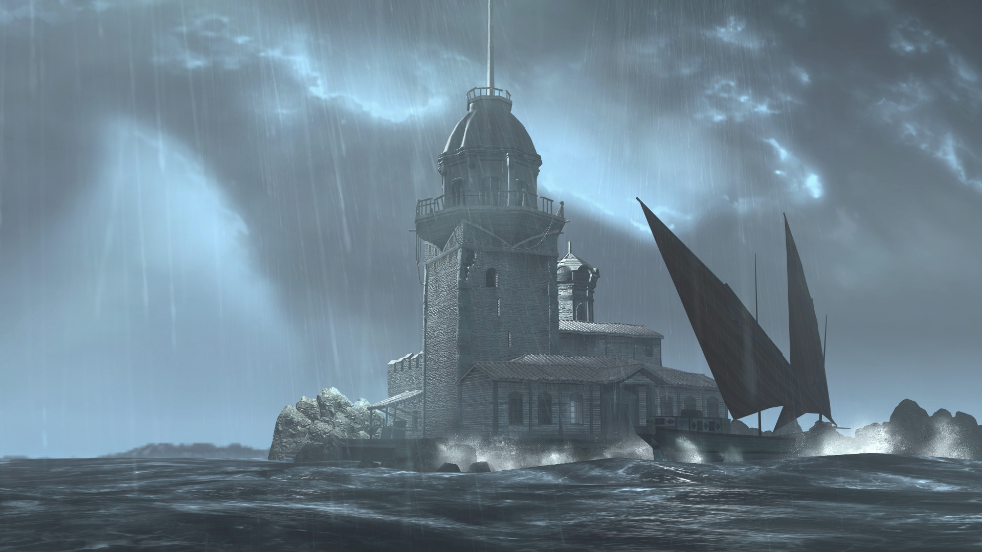 Res: 1920x1080, Maiden's Tower Thunderstorm Wallpaper