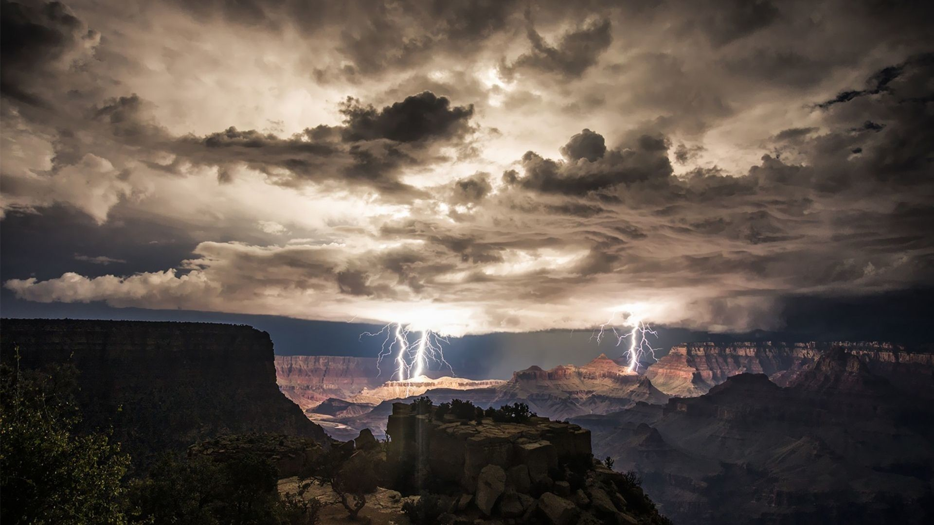 Res: 1920x1080, Extra Wallpapers - Thunderstorm over Grand Canyon