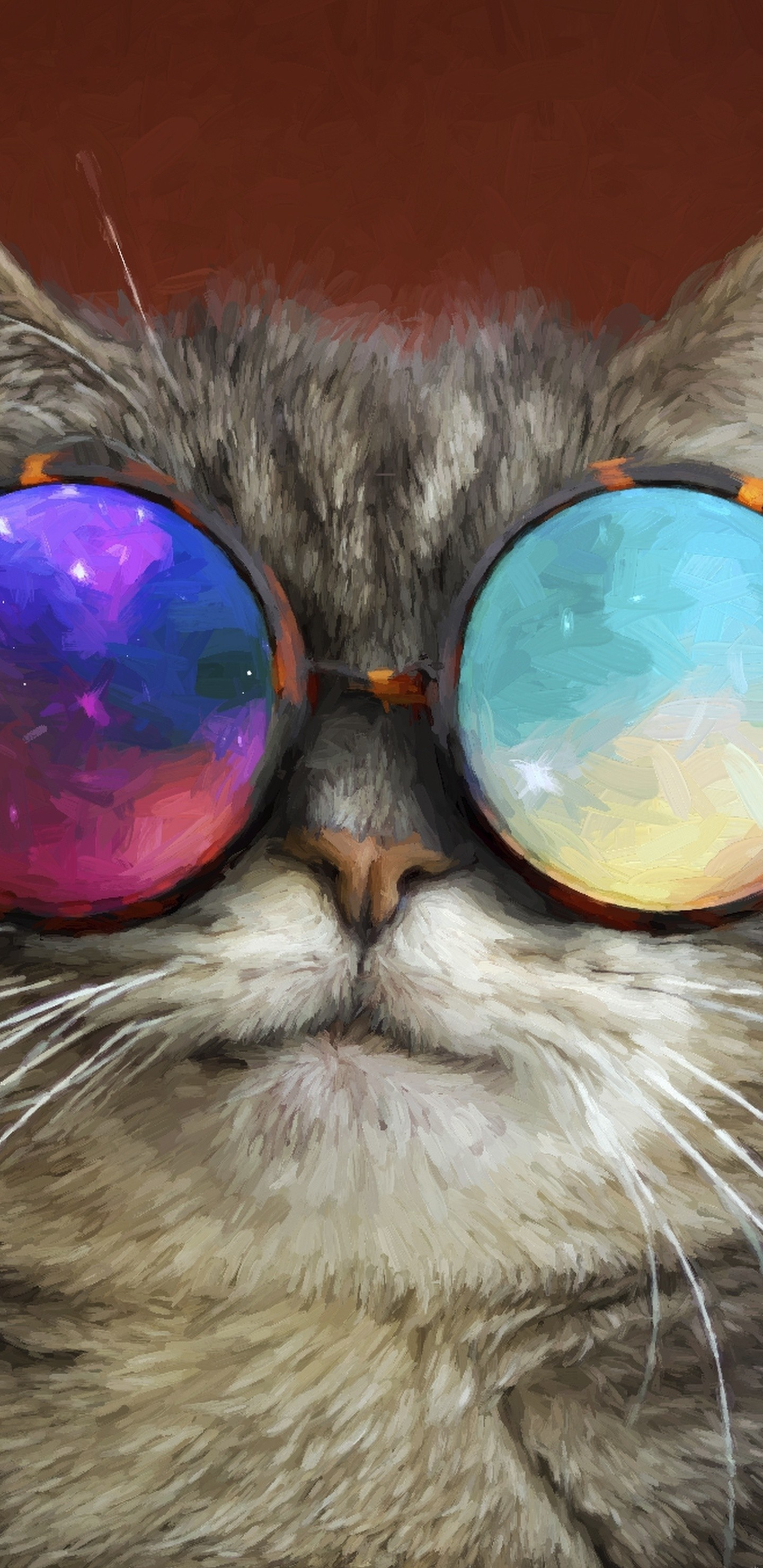 Res: 1440x2960, cat-glasses-party-cool-painting-tx.jpg