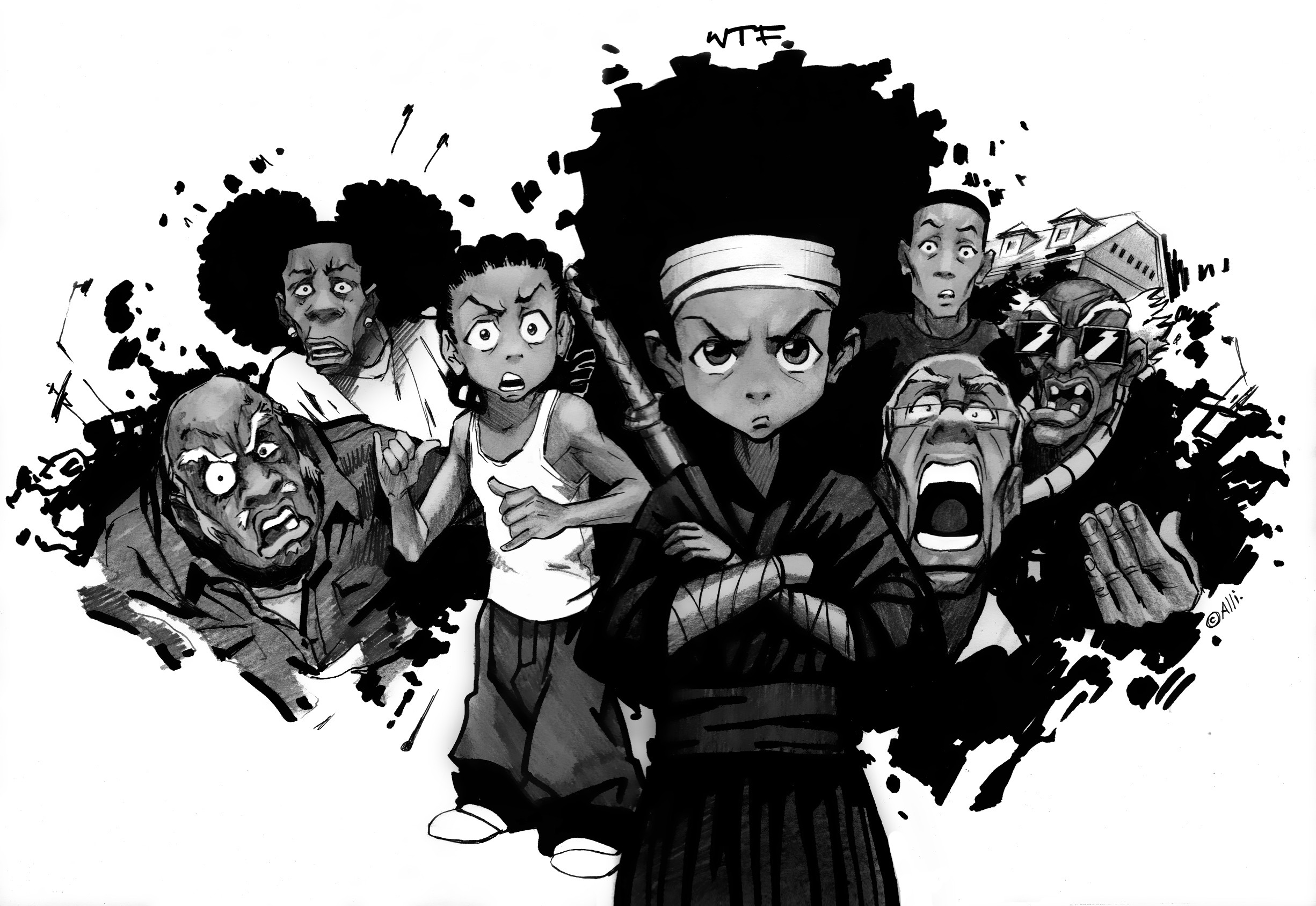 Res: 2451x1687, huey the boondocks cartoons best widescreen background awesome