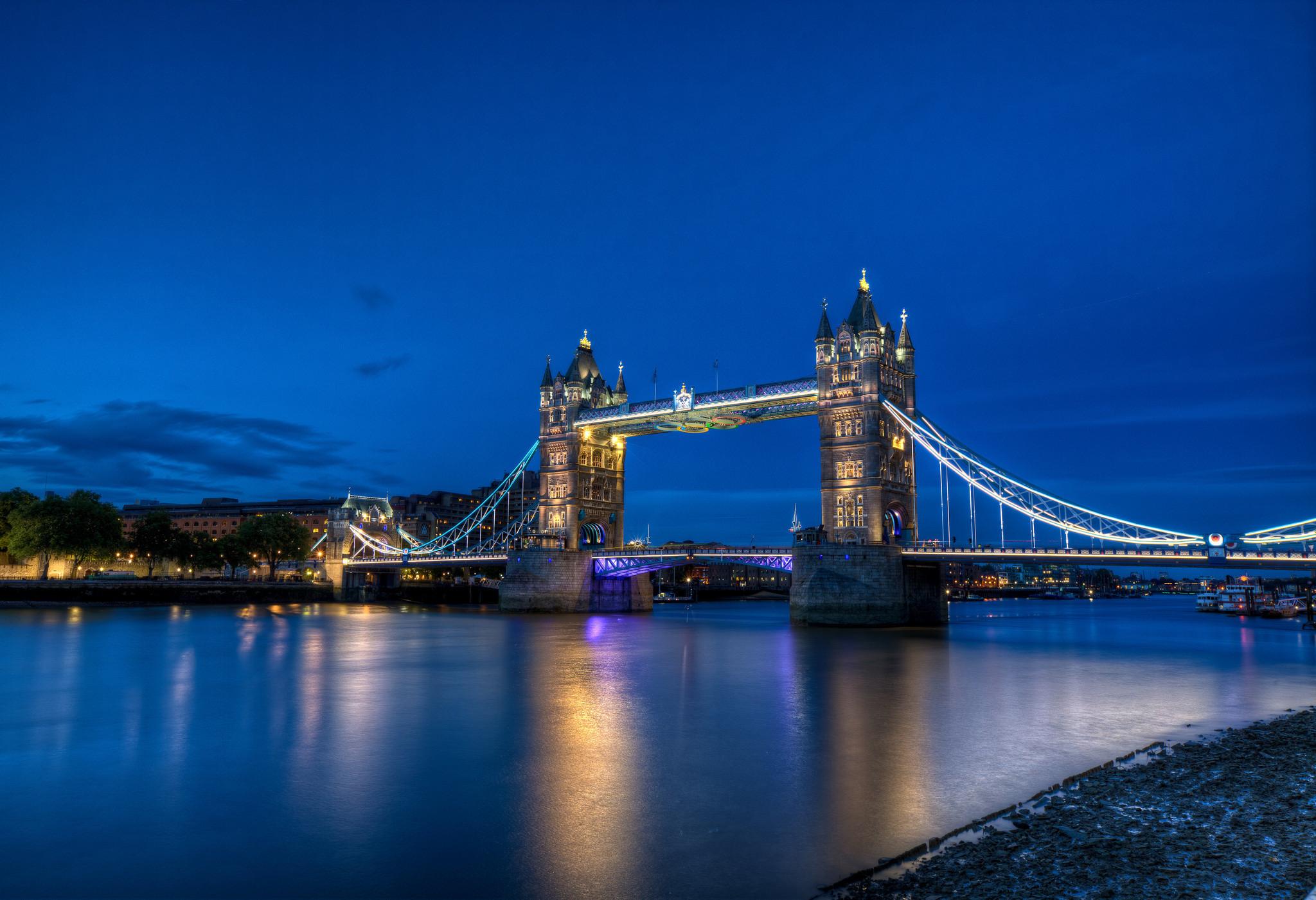 Res: 2048x1402, Man Made - Tower Bridge Reflection Night Light London Wallpaper