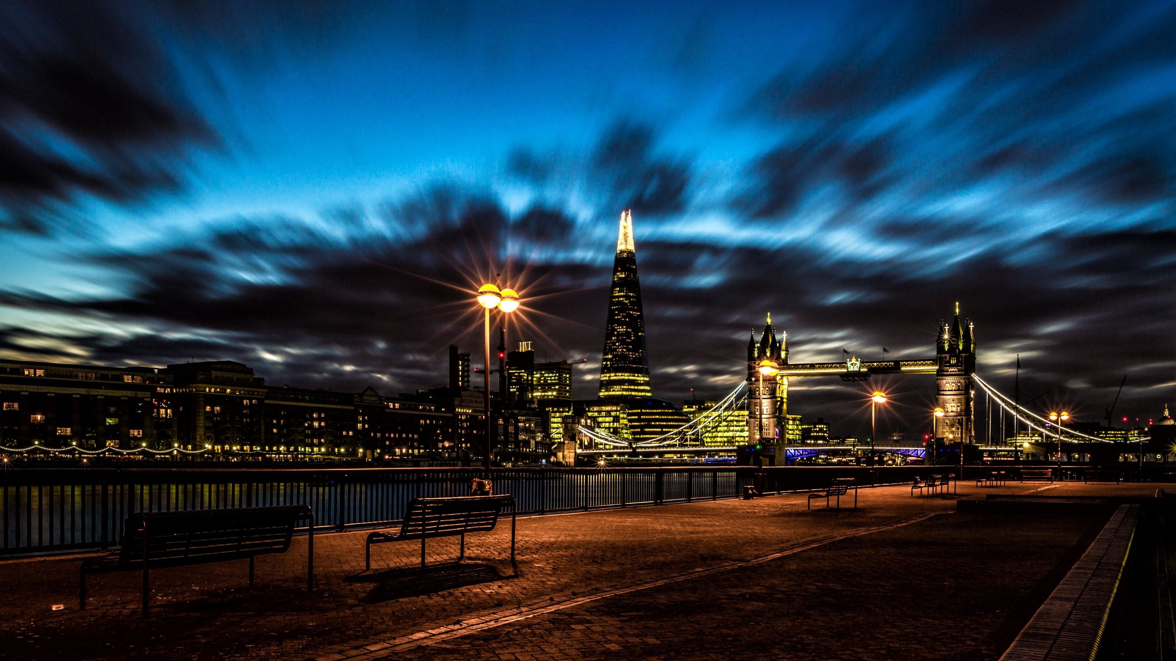 Res: 3840x2160, London Cityscape At Night With The Tower Bridge Wallpaper | Wallpaper  Studio 10 | Tens of thousands HD and UltraHD wallpapers for Android,  Windows and Xbox